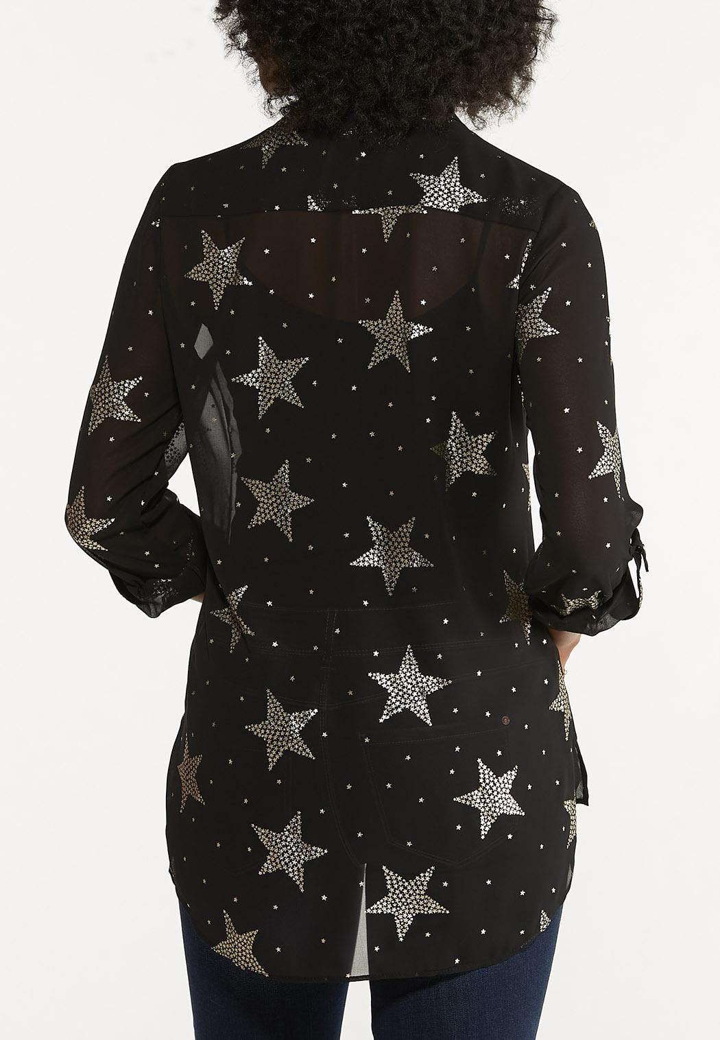 Plus Size Foiled Star Equipment Shirt (Item #44662363)
