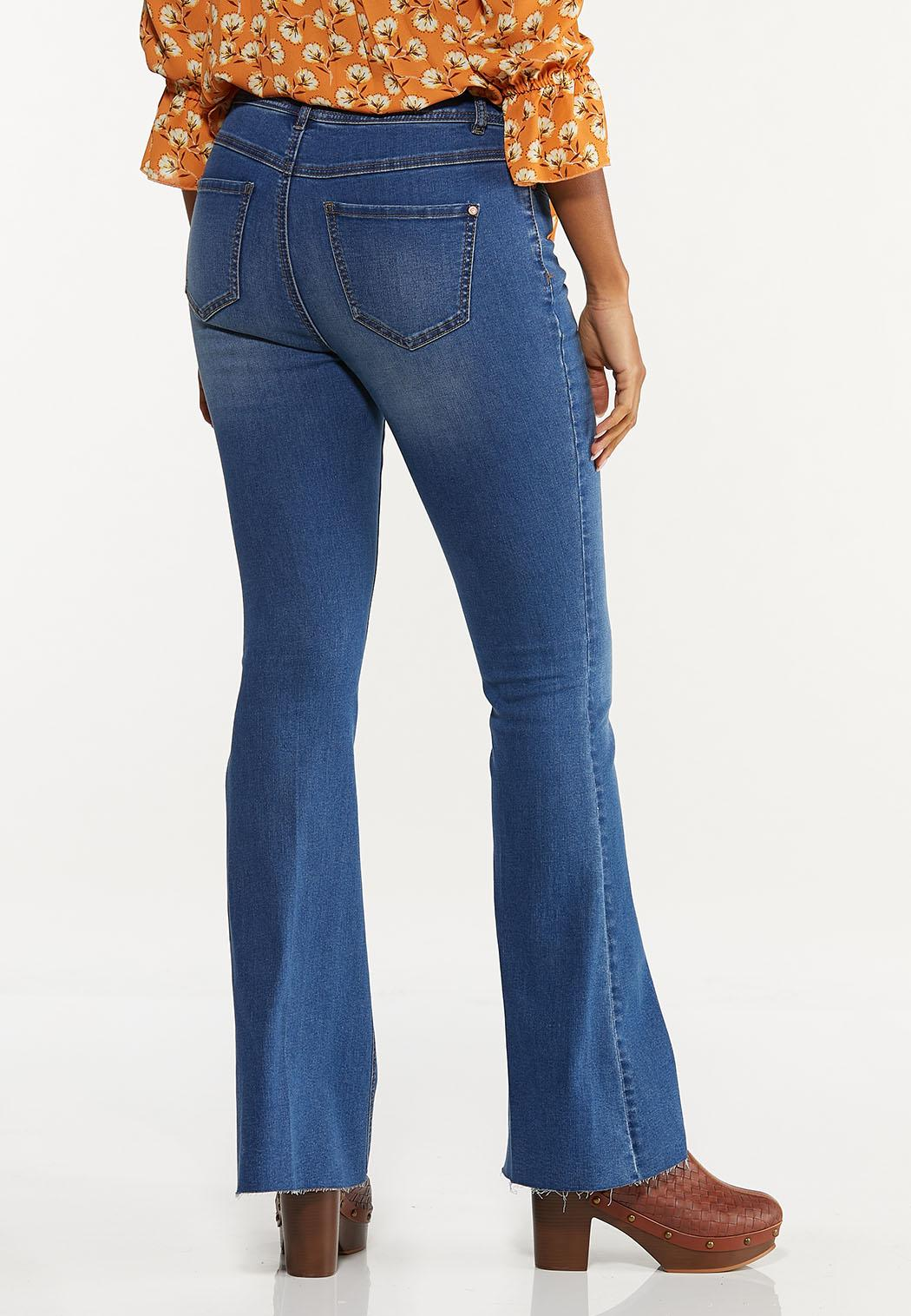 Petite Raw Edge Flare Jeans (Item #44662626)