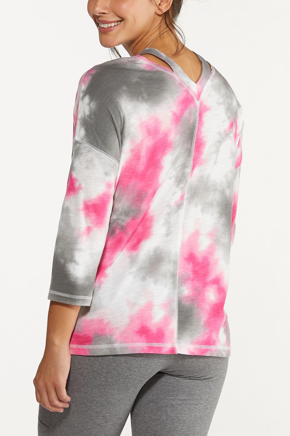 Plus Size Tie Dye Cutout Top (Item #44662861)
