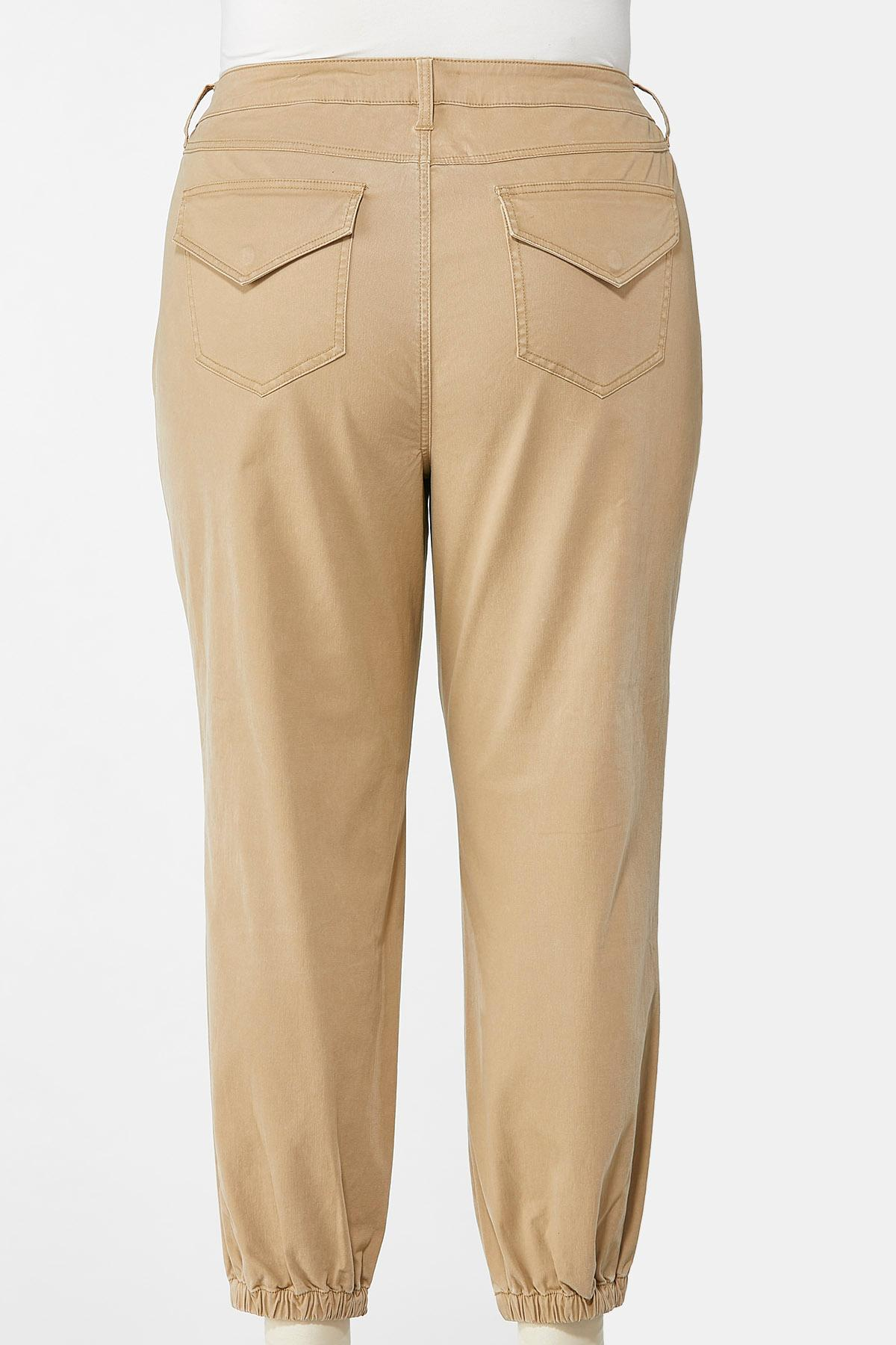 Plus Size Khaki Twill Joggers (Item #44663024)