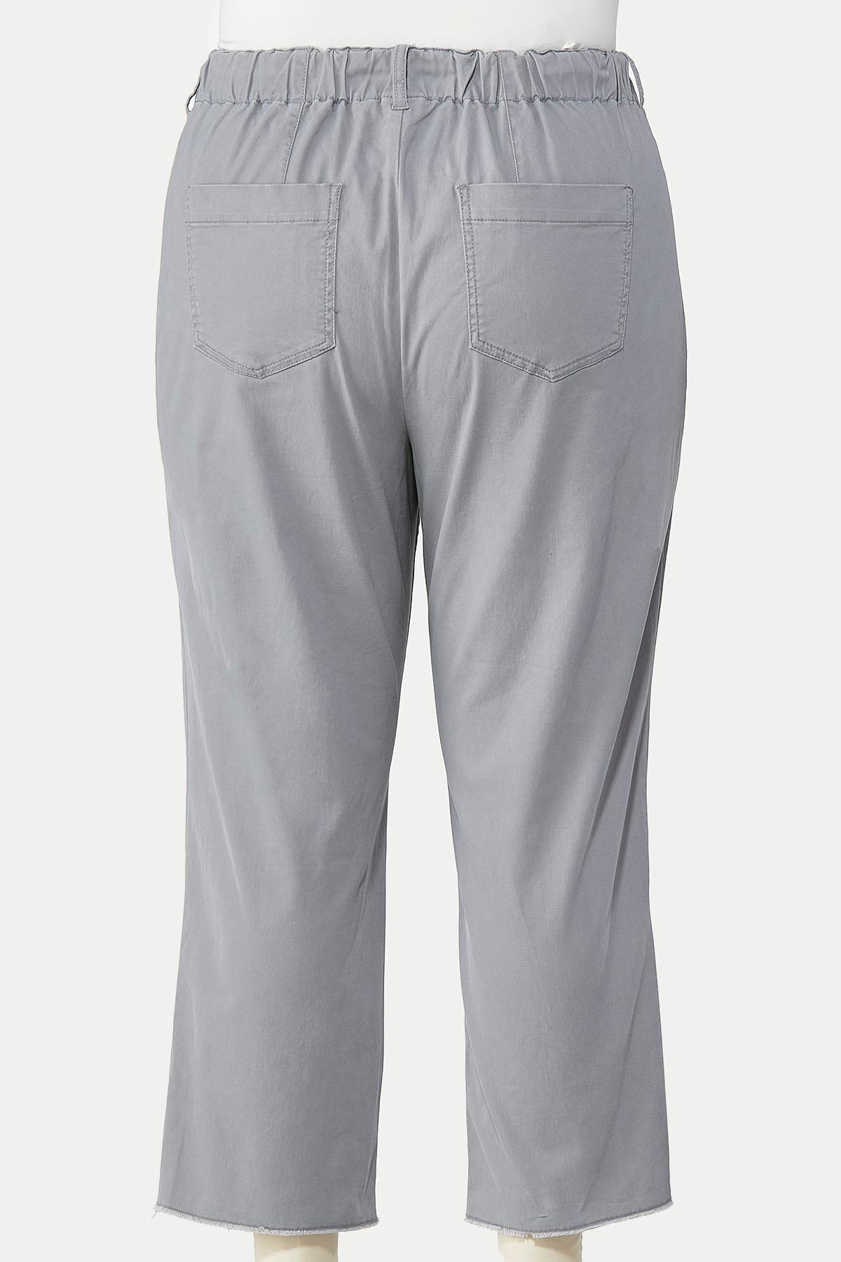 Plus Size Tie Waist Twill Pants (Item #44663295)