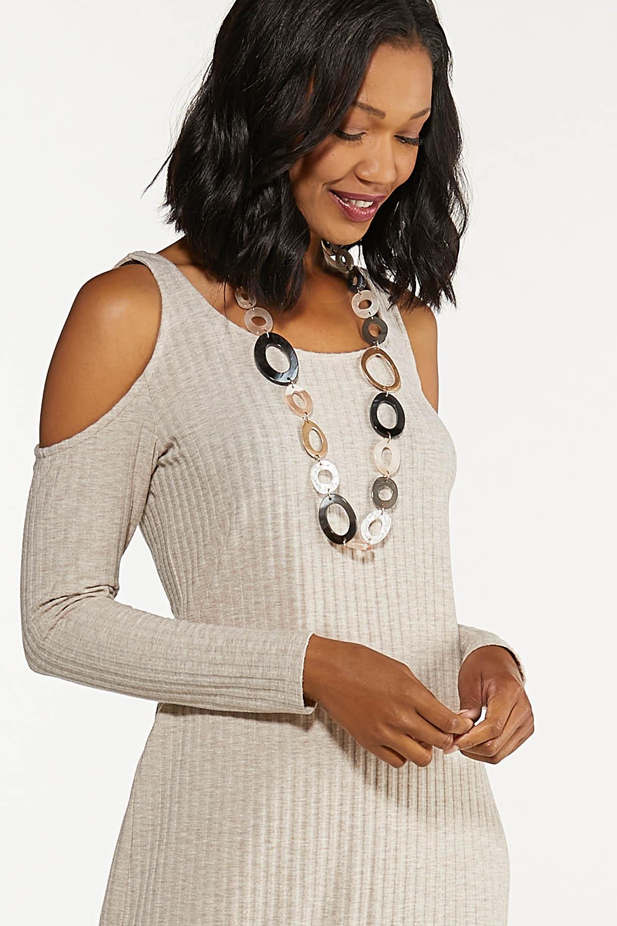 Plus Size Cold Shoulder Midi Dress (Item #44663569)