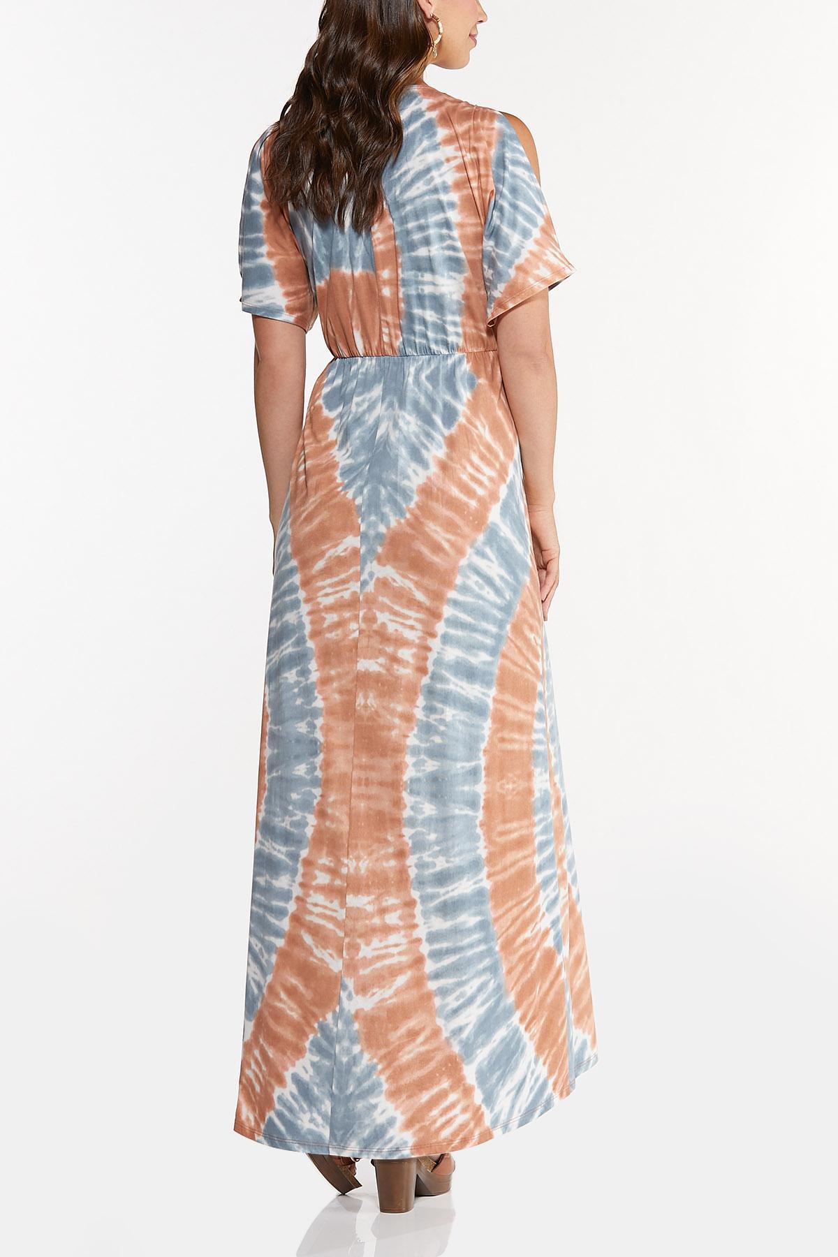 Plus Size Cold Shoulder Tie Dye Maxi Dress (Item #44664252)