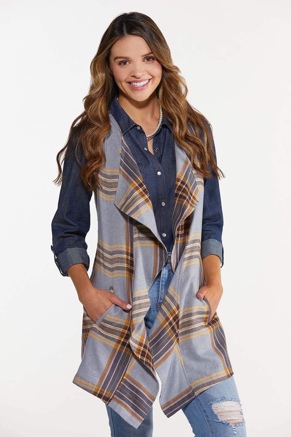Draped Plaid Vest (Item #44664890)