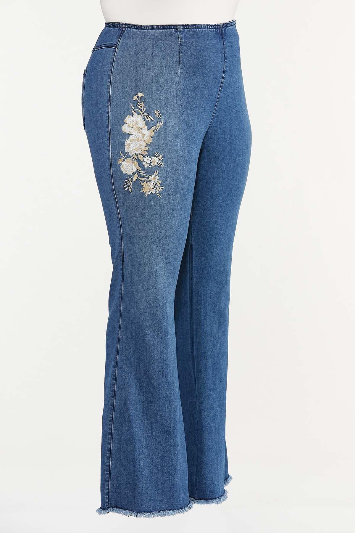 Plus Size Floral Embroidered Flare Jeans (Item #44665035)
