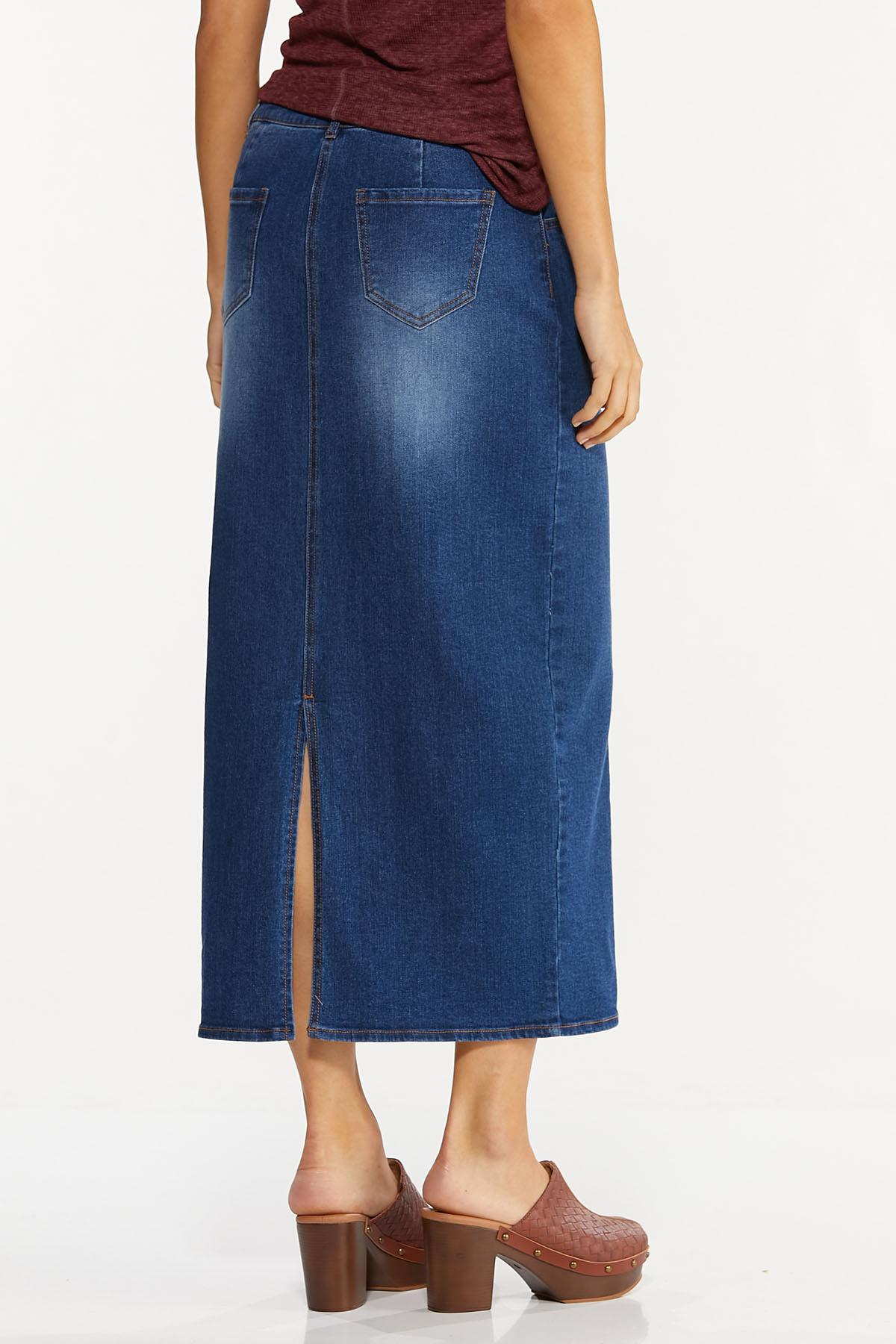Plus Size Denim Seamed Maxi Skirt (Item #44665475)