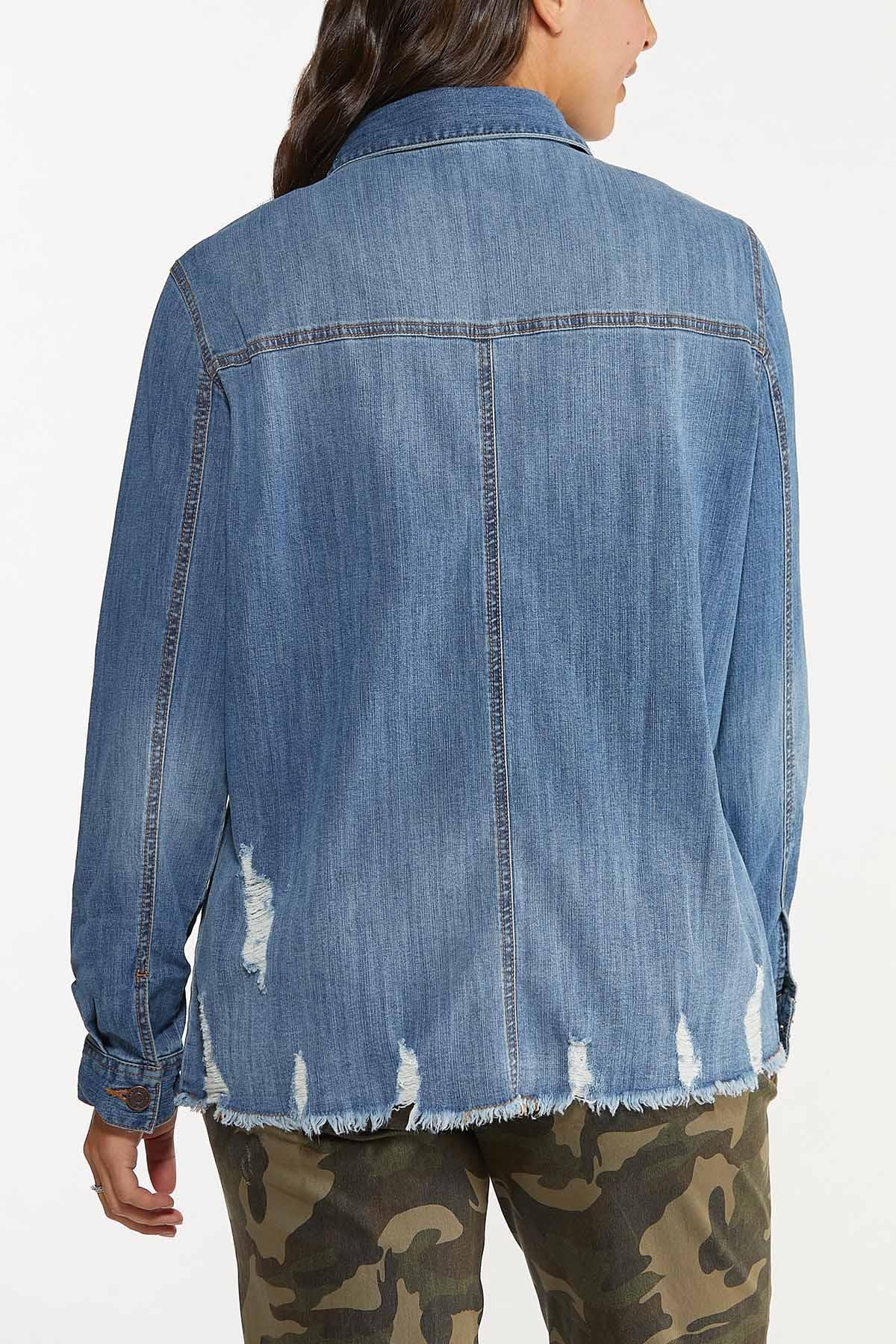 Plus Size Frayed Denim Shacket (Item #44665500)