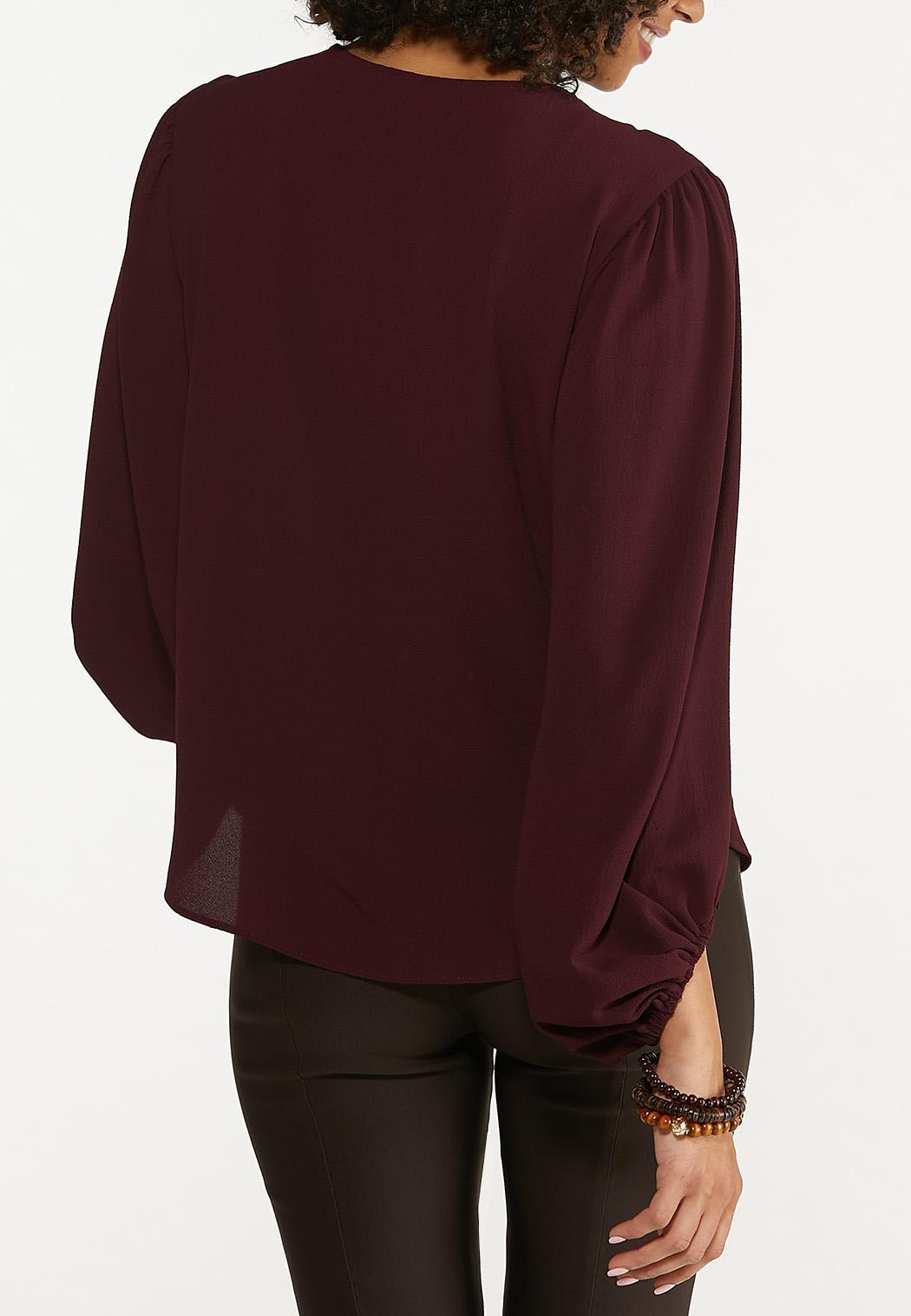 Plus Size Textured Balloon Sleeve Top (Item #44665506)