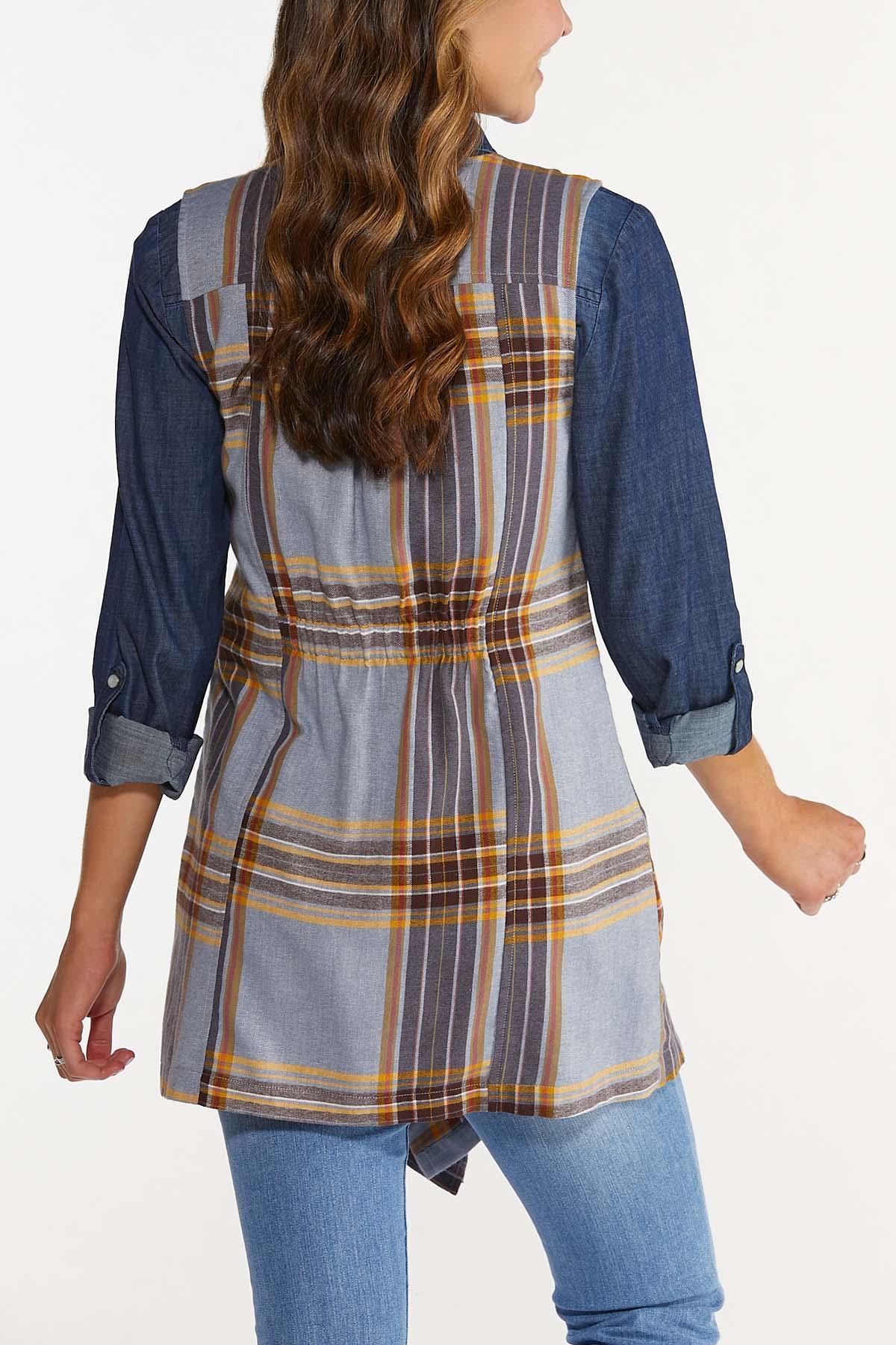 Plus Size Draped Plaid Vest (Item #44665533)