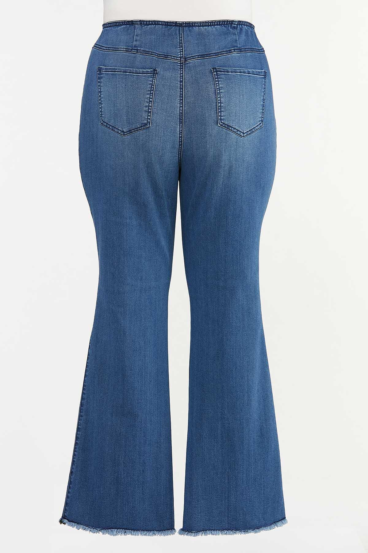 Plus Petite Floral Embroidered Flare Jeans (Item #44665534)