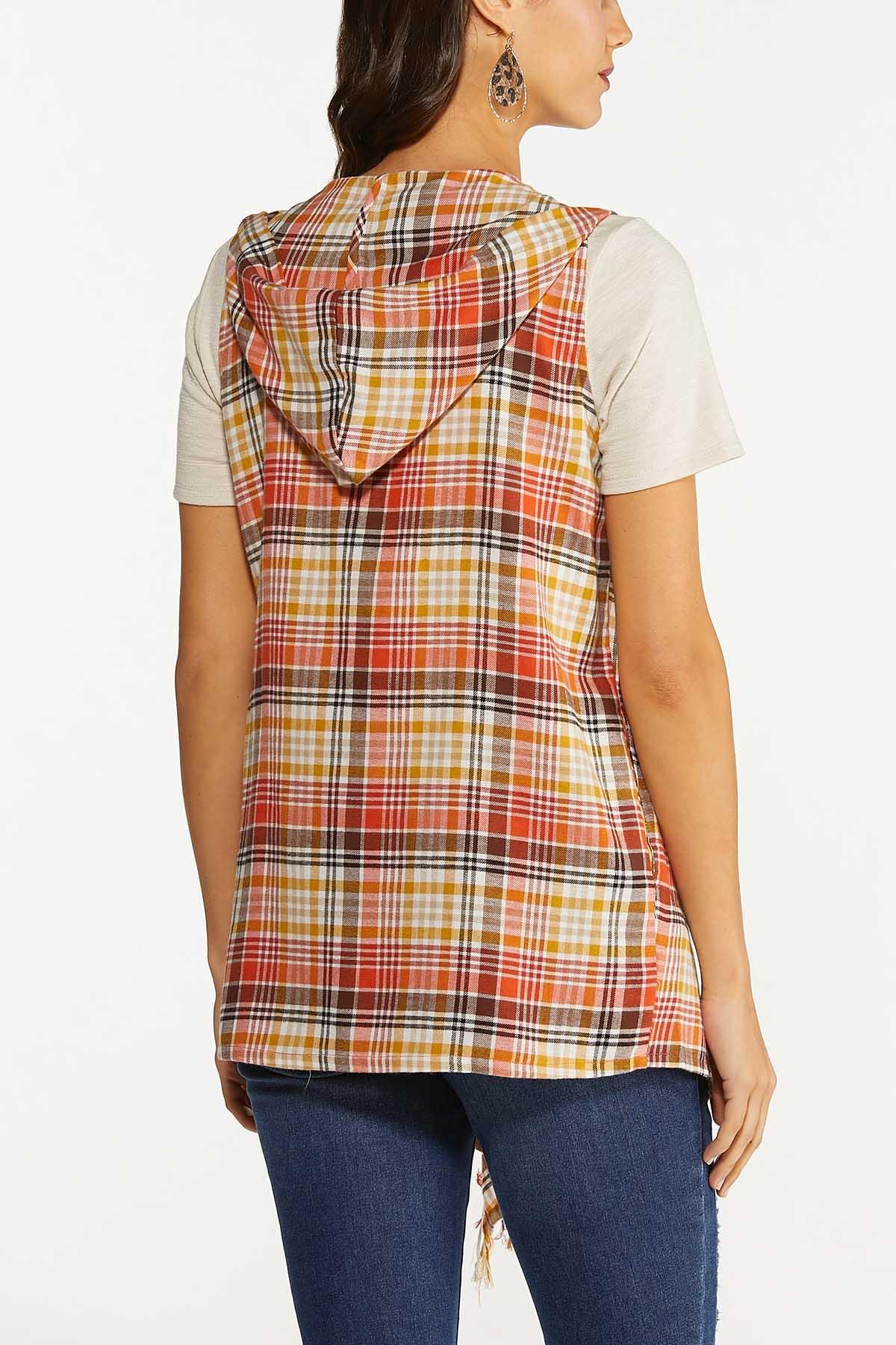 Plus Size Pumpkin Spice Plaid Vest (Item #44665575)