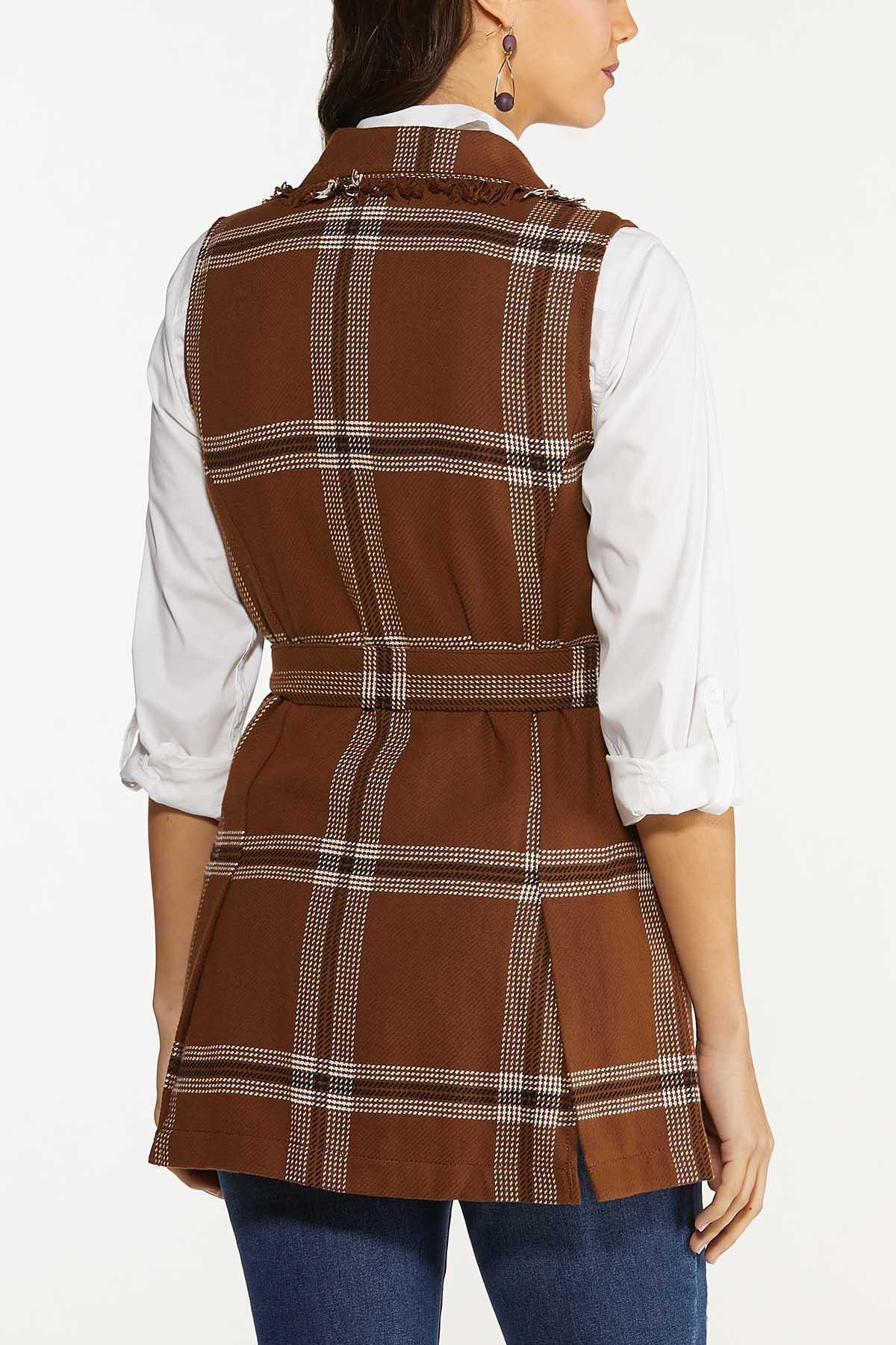 Plus Size Belted Plaid Vest (Item #44665620)