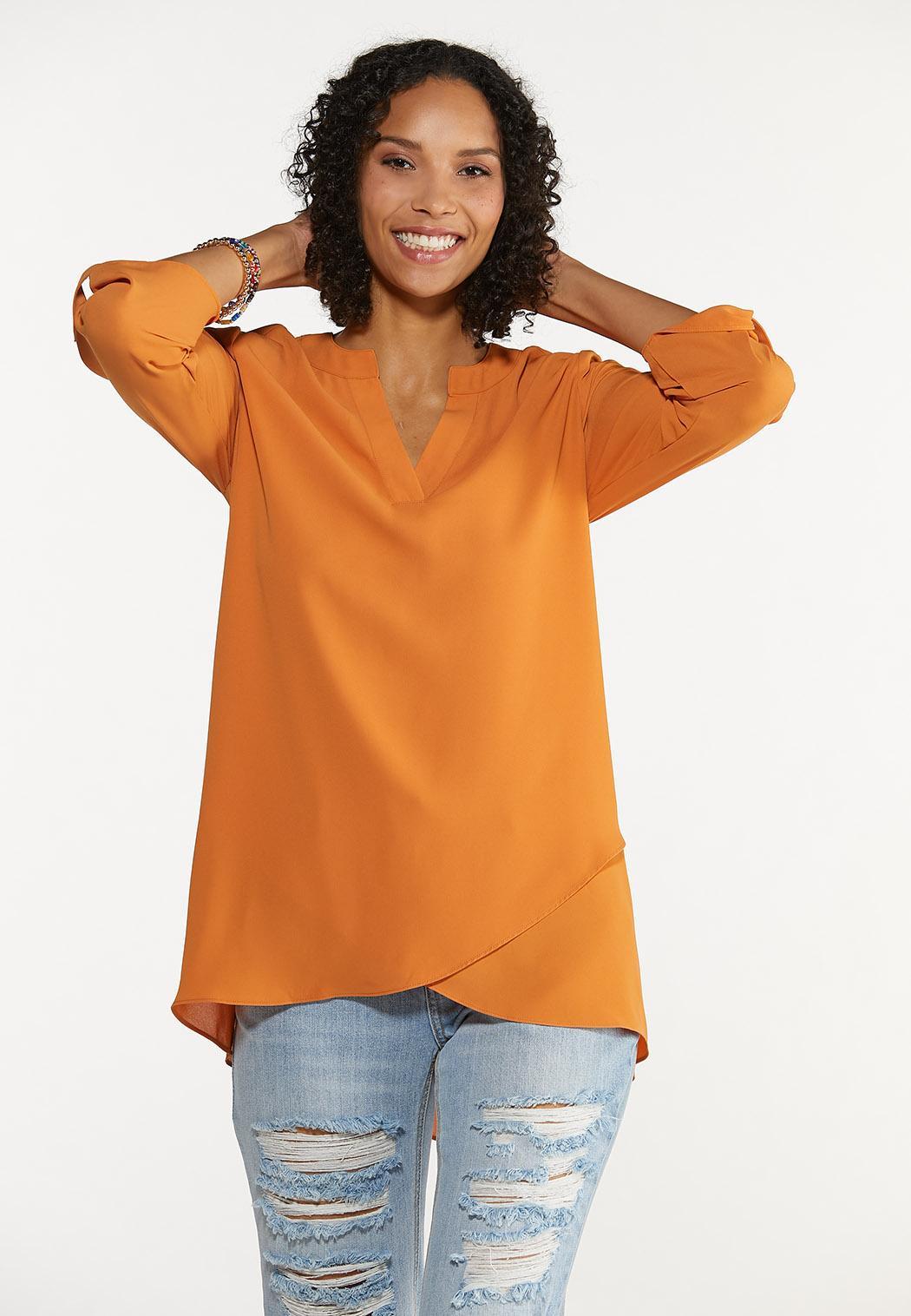 Autumn Orange Cross Hem Tunic (Item #44665663)