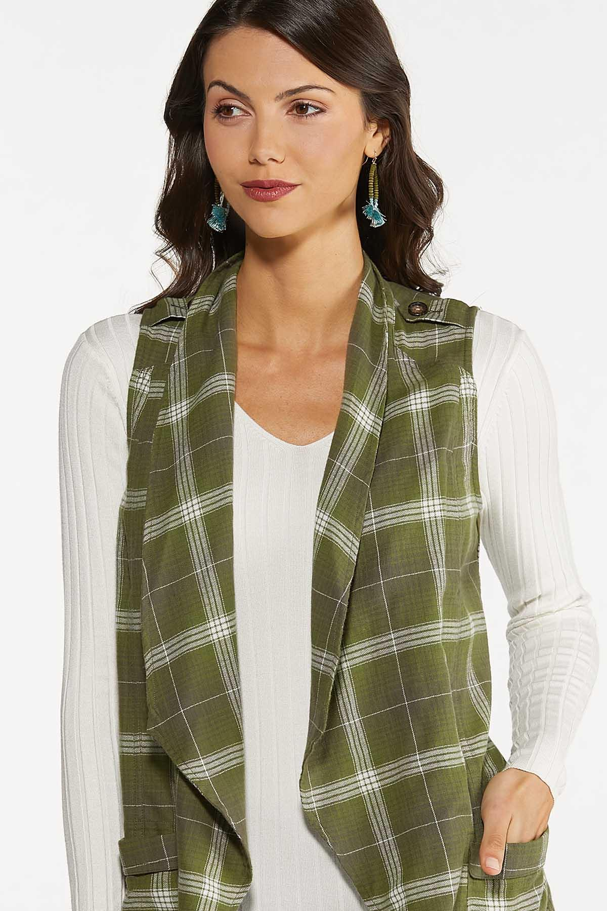 Plus Size Green Plaid Vest (Item #44665679)
