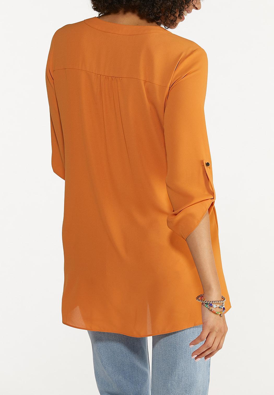 Plus Size Autumn Orange Cross Hem Tunic (Item #44665712)