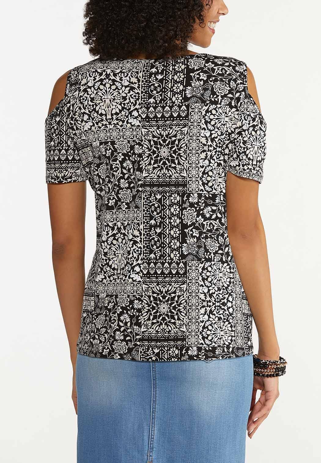 Plus Size Contrasting Floral Cold Shoulder Top (Item #44666707)