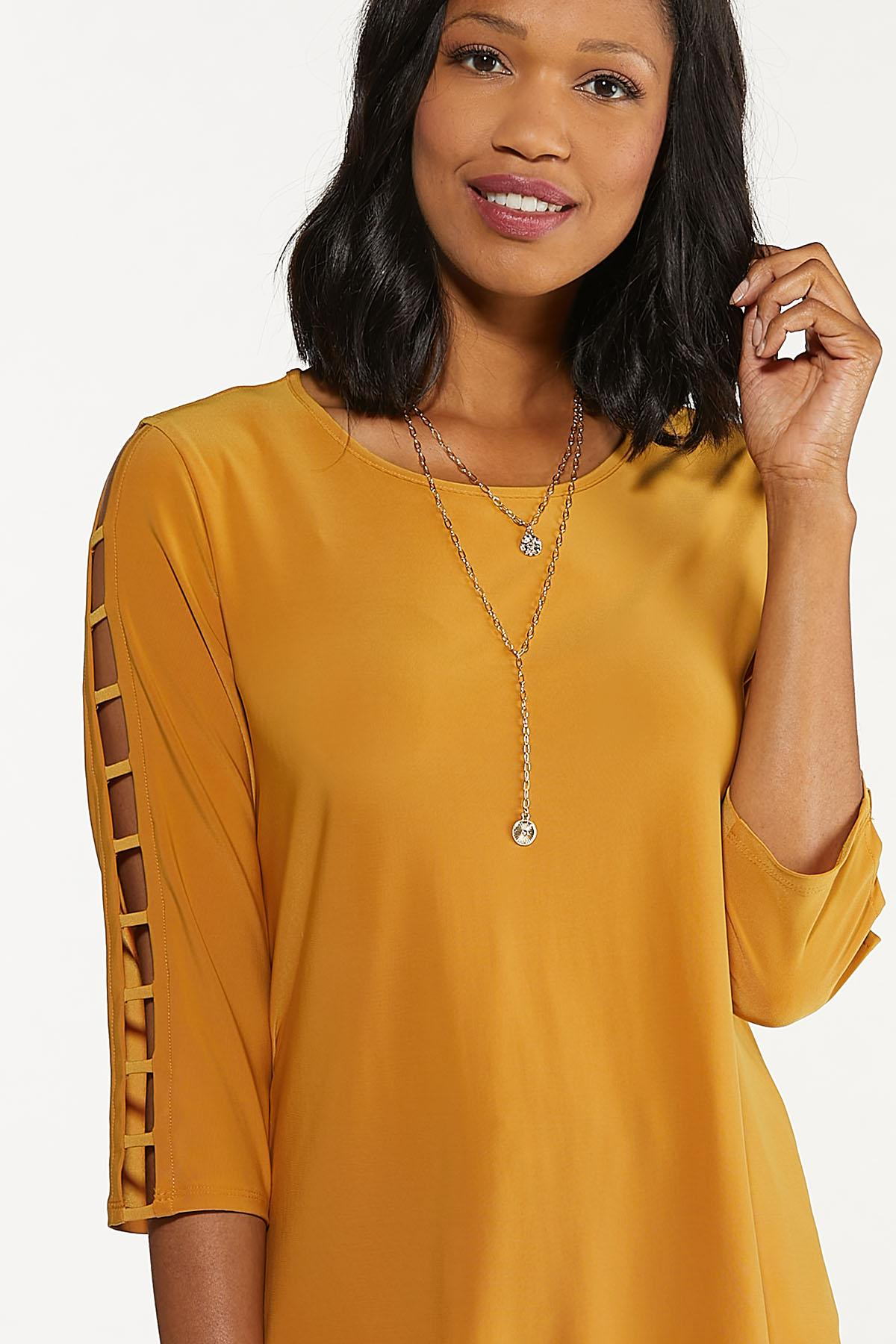 Plus Size Gold Ladder Sleeve Top (Item #44666919)