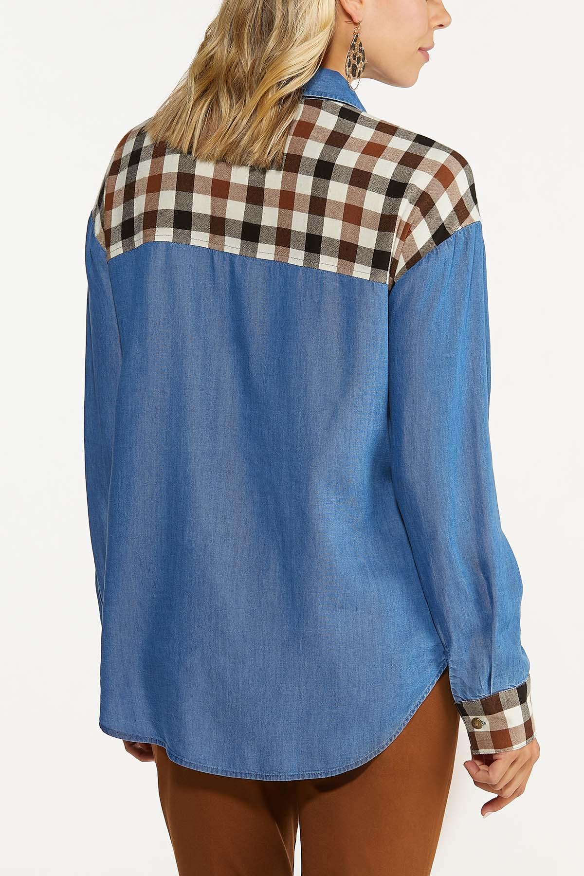 Plaid Panel Chambray Shirt (Item #44666921)