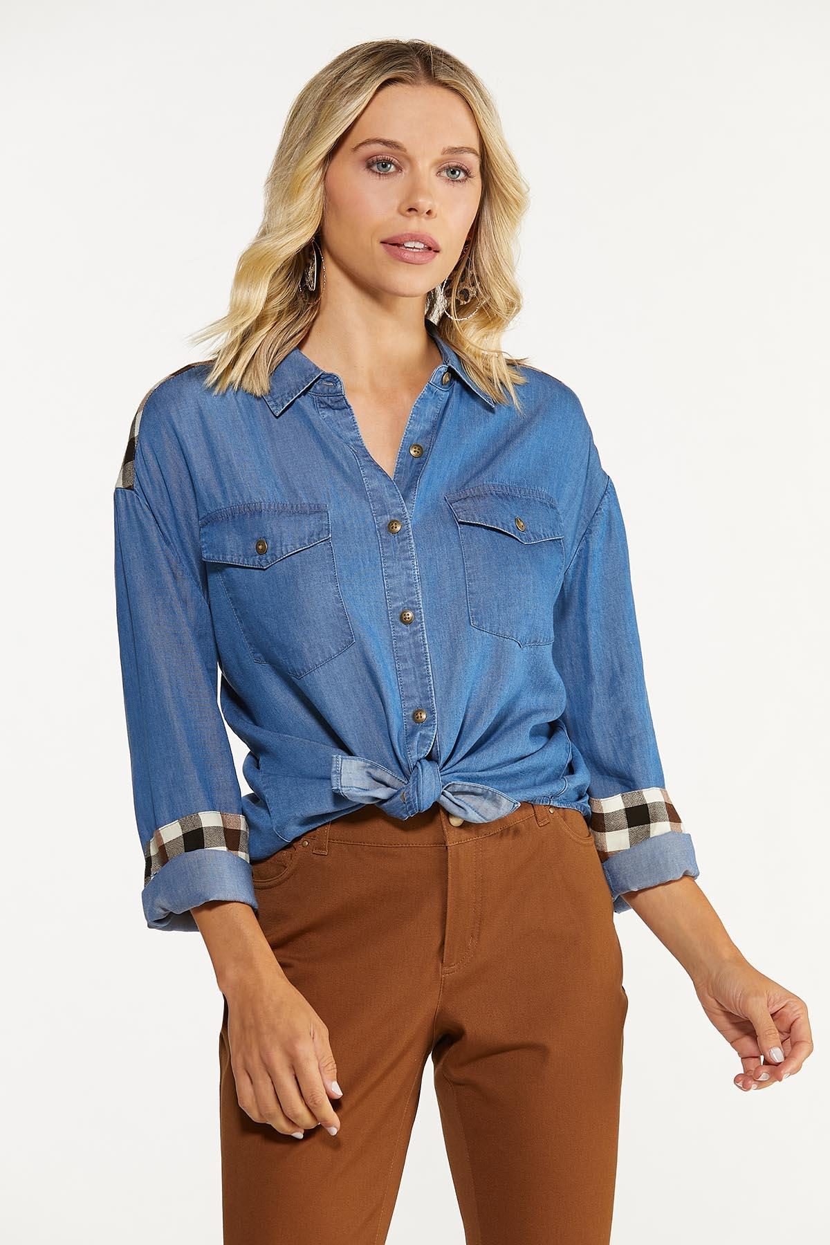 Plus Size Plaid Panel Chambray Shirt (Item #44666949)