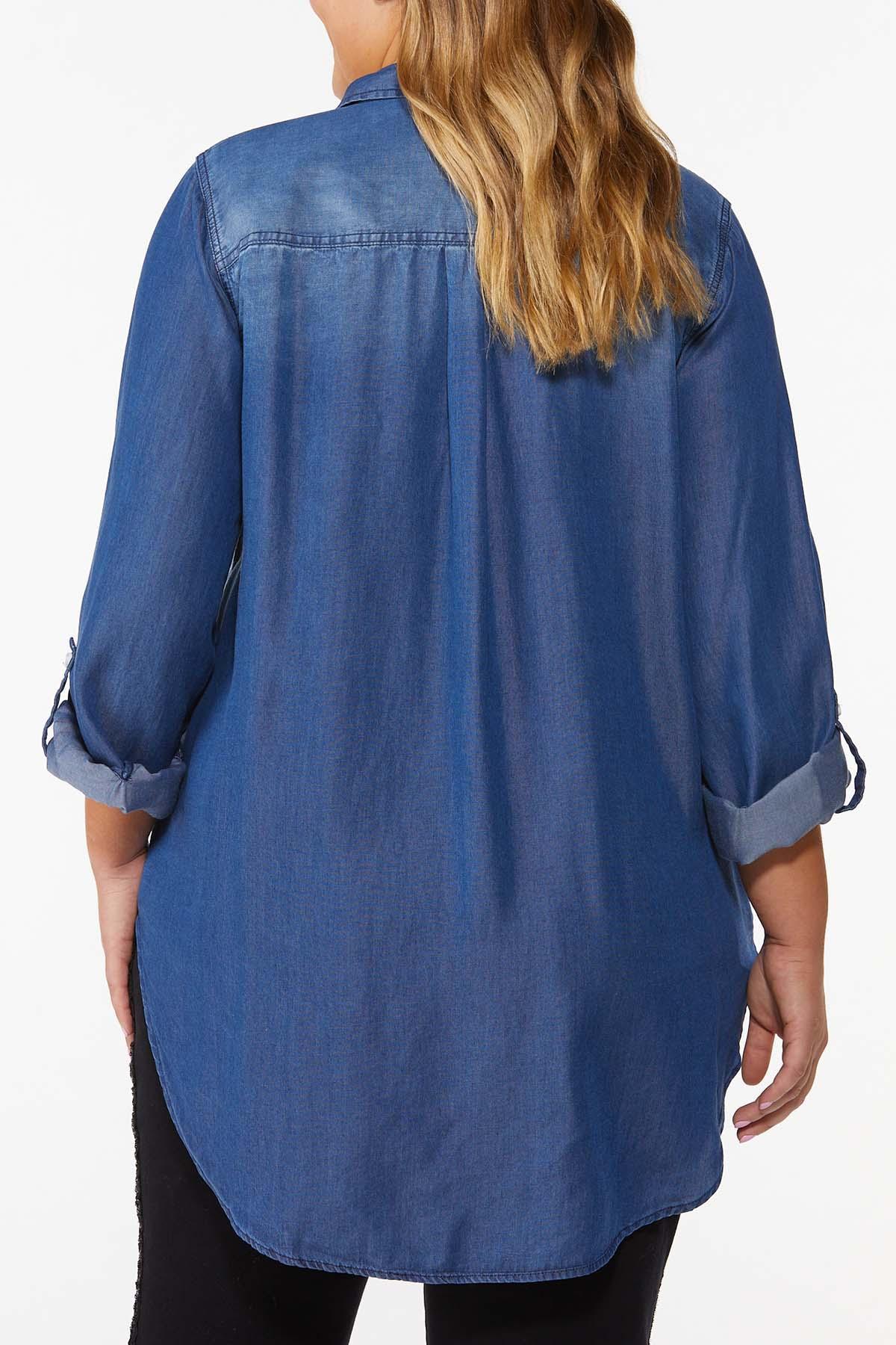Plus Size Dark Wash Denim Shirt (Item #44667017)