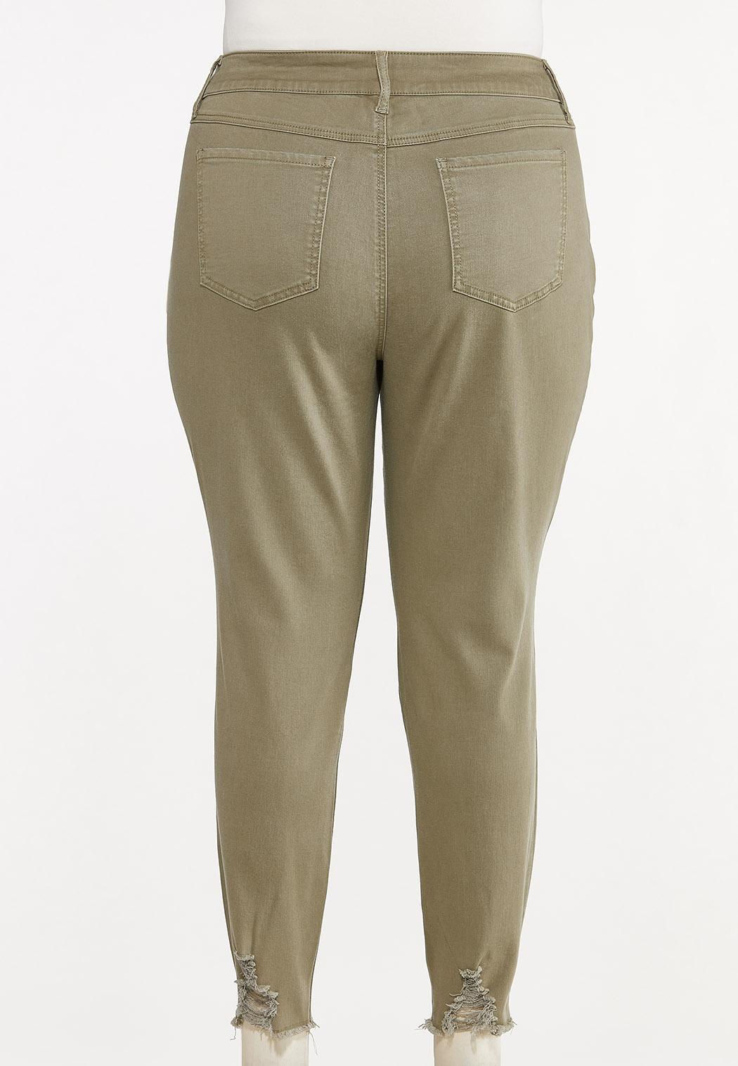 Plus Size Frayed Olive Pants (Item #44667181)