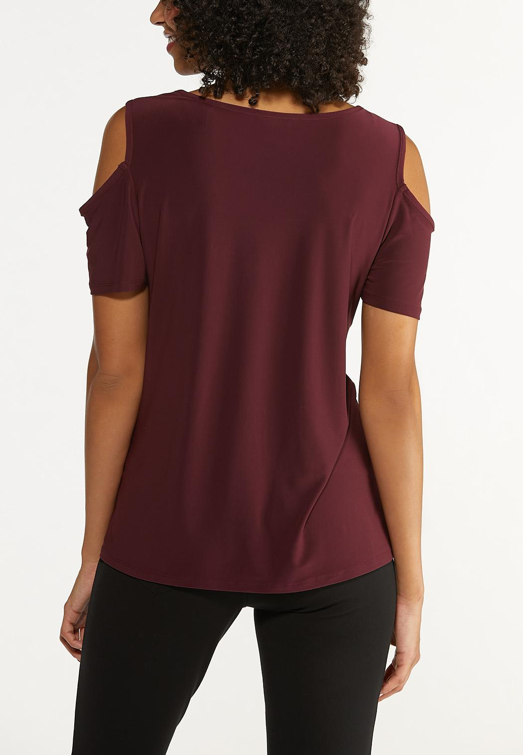 Plus Size Wine Cold Shoulder Top (Item #44667631)