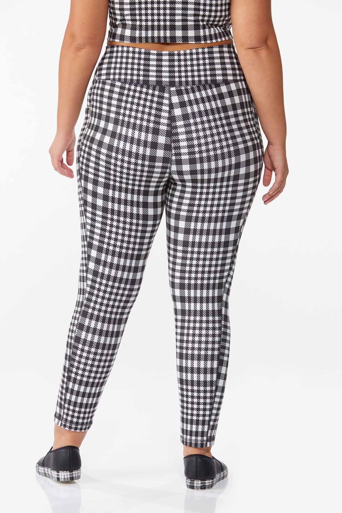 Plus Size Checkered Active Leggings (Item #44668247)