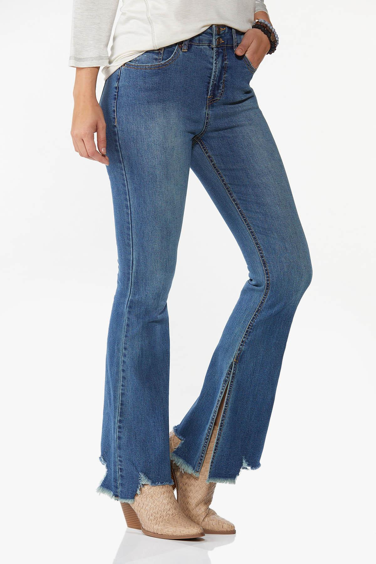 Jagged Hem Flare Jeans (Item #44668251)