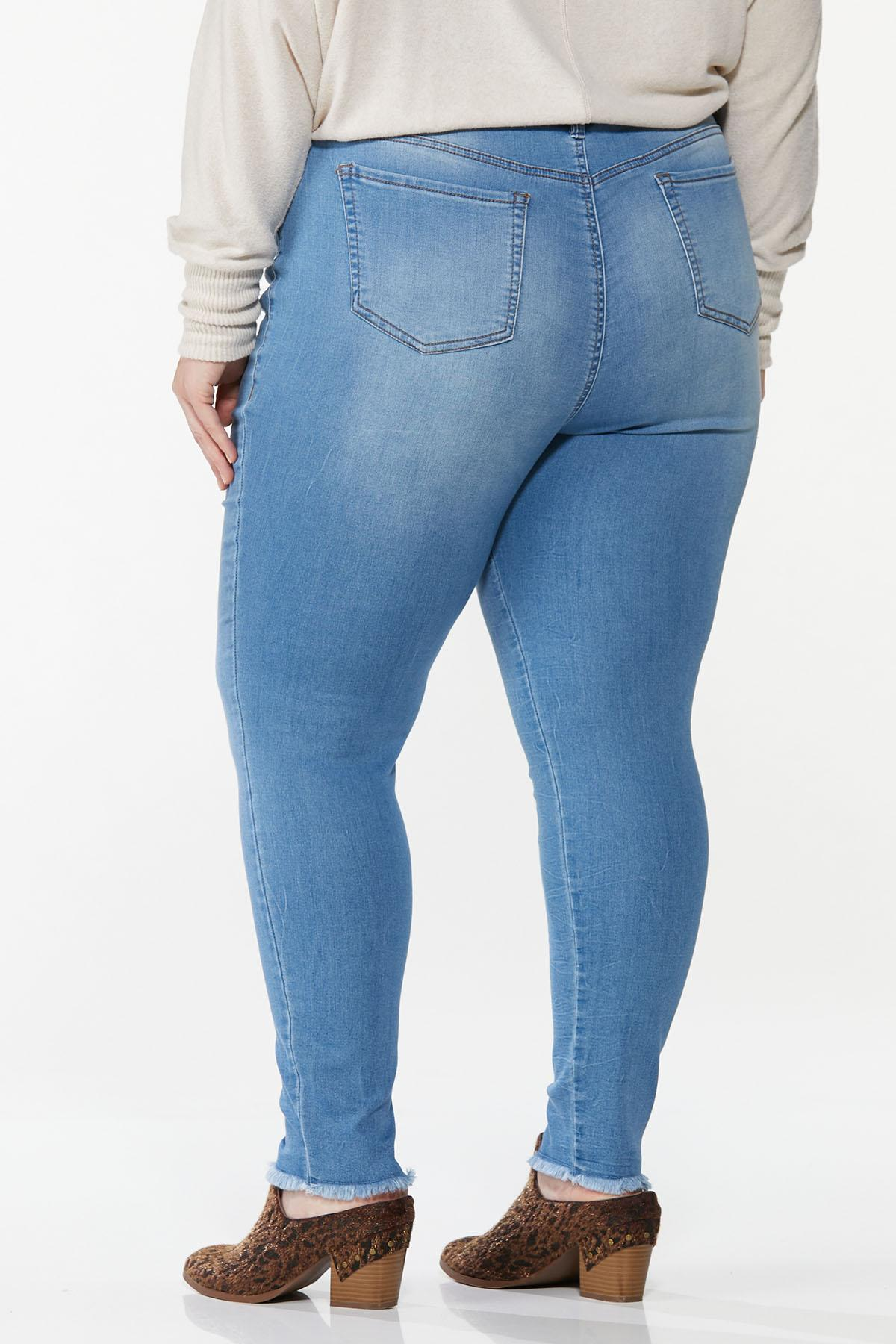 Plus Size Frayed Button Fly Jeans (Item #44668293)