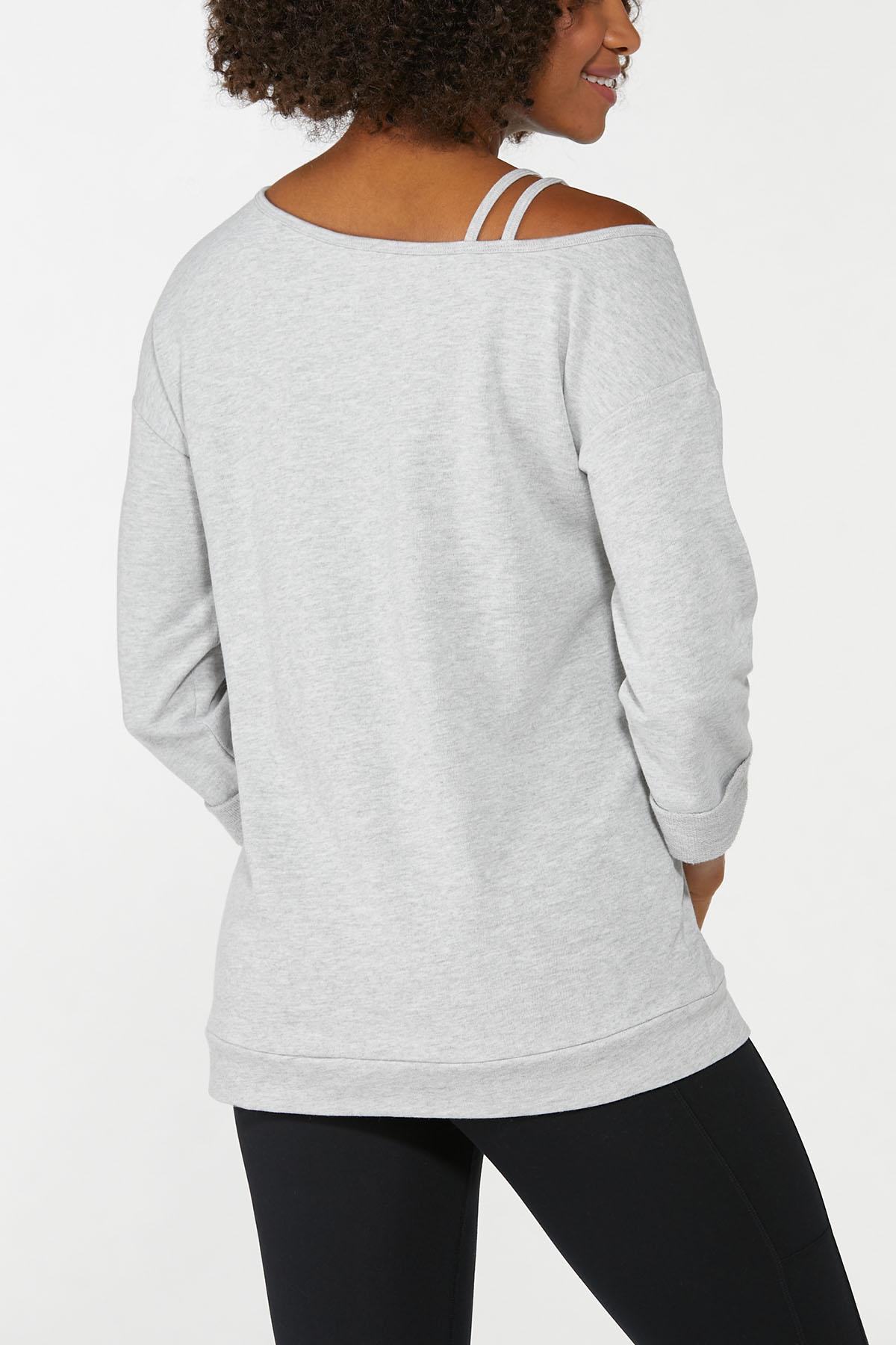 Gray Strappy Shoulder Sweatshirt (Item #44668480)