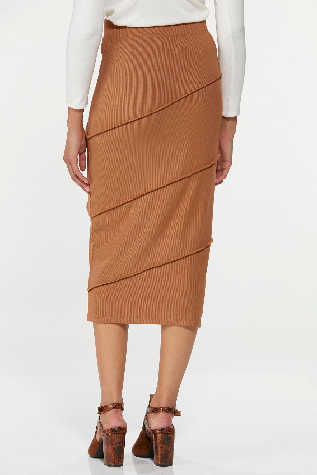 Plus Size Ribbed Pencil Skirt (Item #44671527)