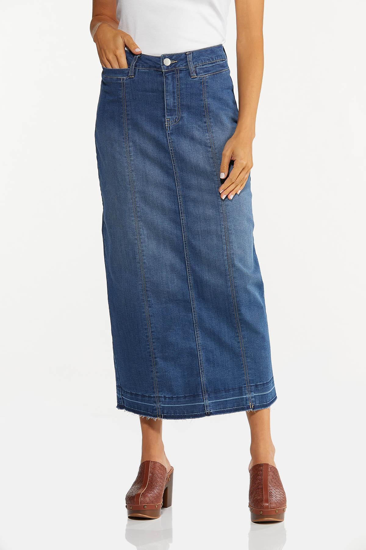 Frayed Denim Maxi Skirt (Item #44671551)