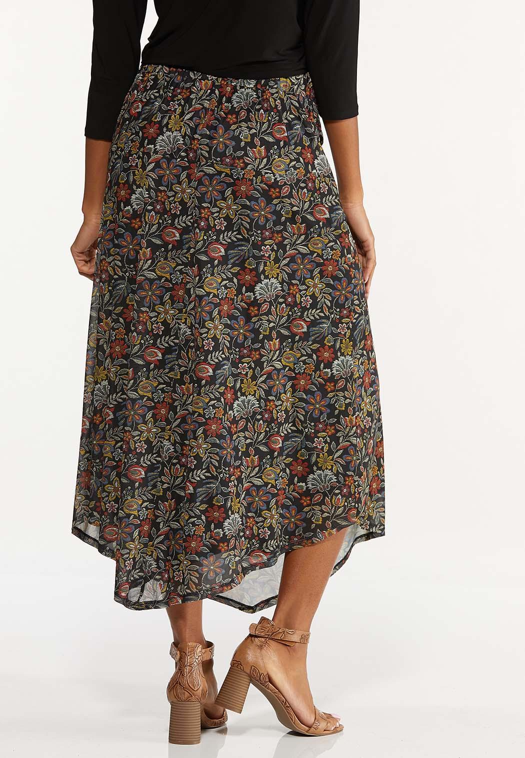 Plus Size Mesh Floral Midi Skirt (Item #44671600)