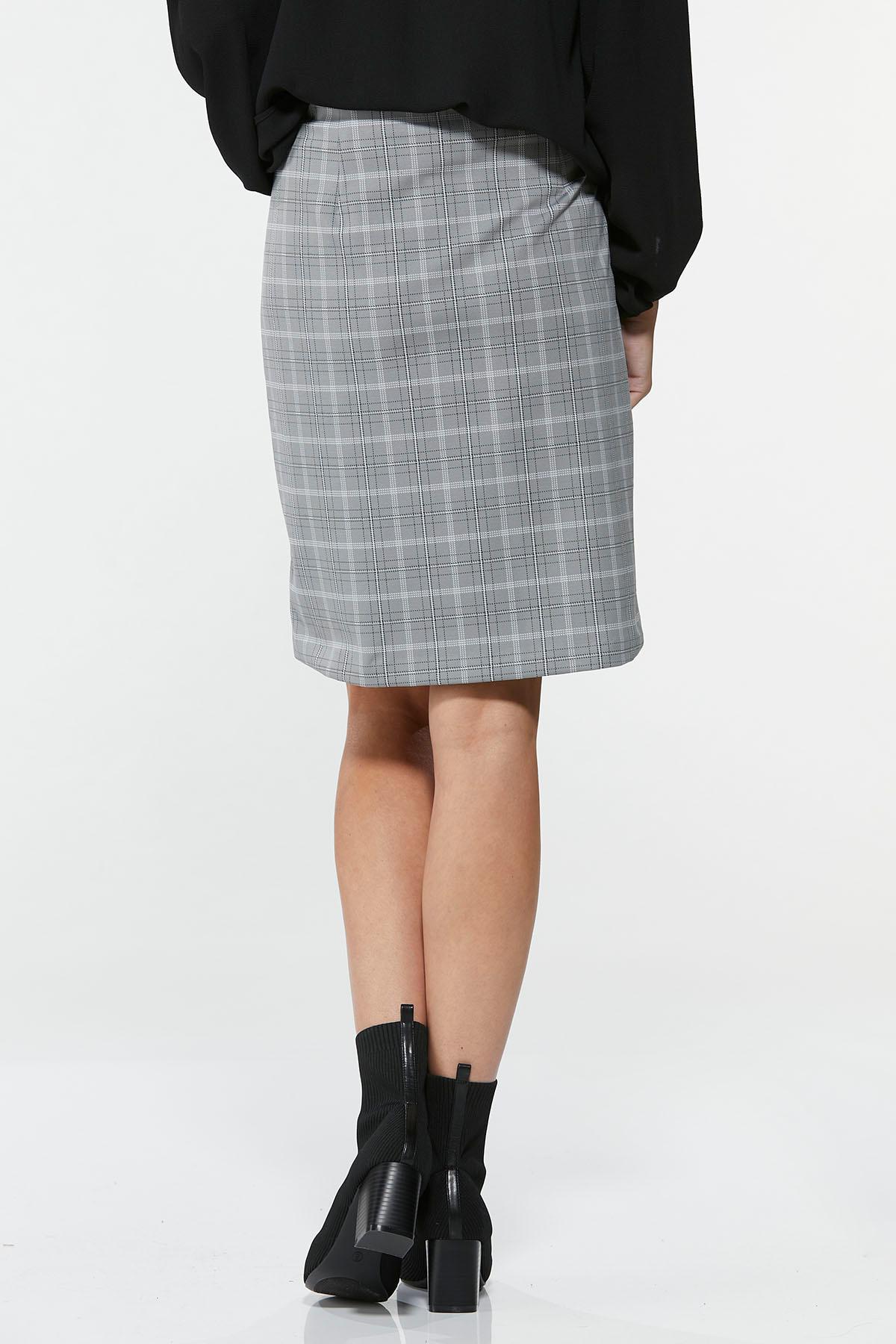Plus Size Gray Plaid Mini Skirt (Item #44671934)