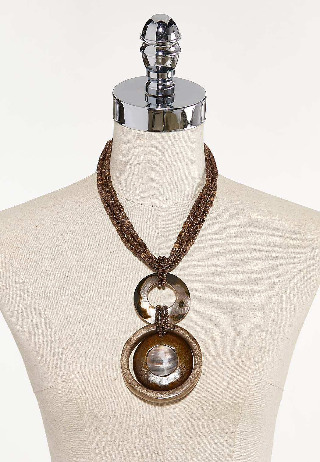 Braided Bead Wood Shell Necklace (Item #44671979)