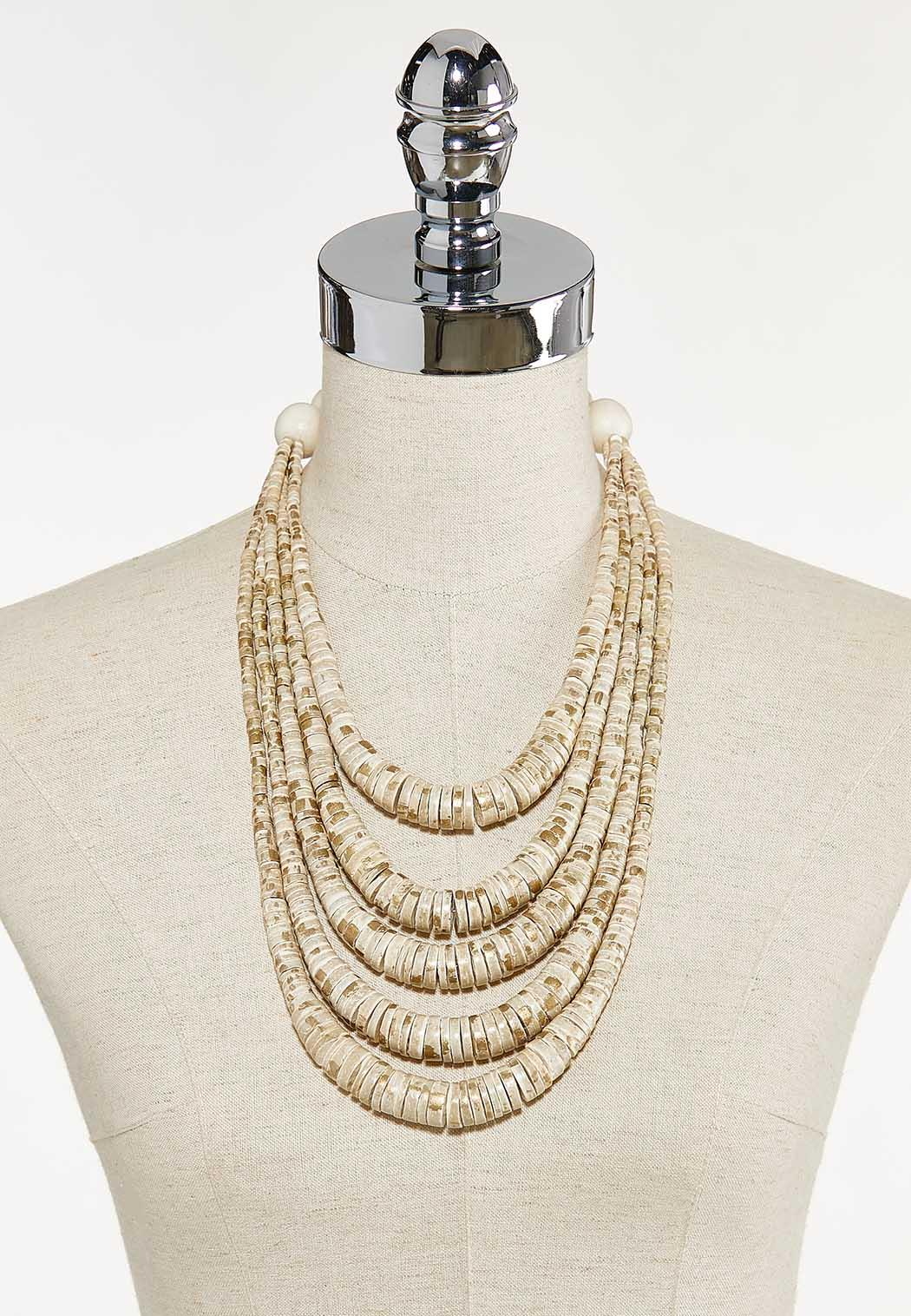 Layered Neutral Disc Bead Necklace (Item #44671982)