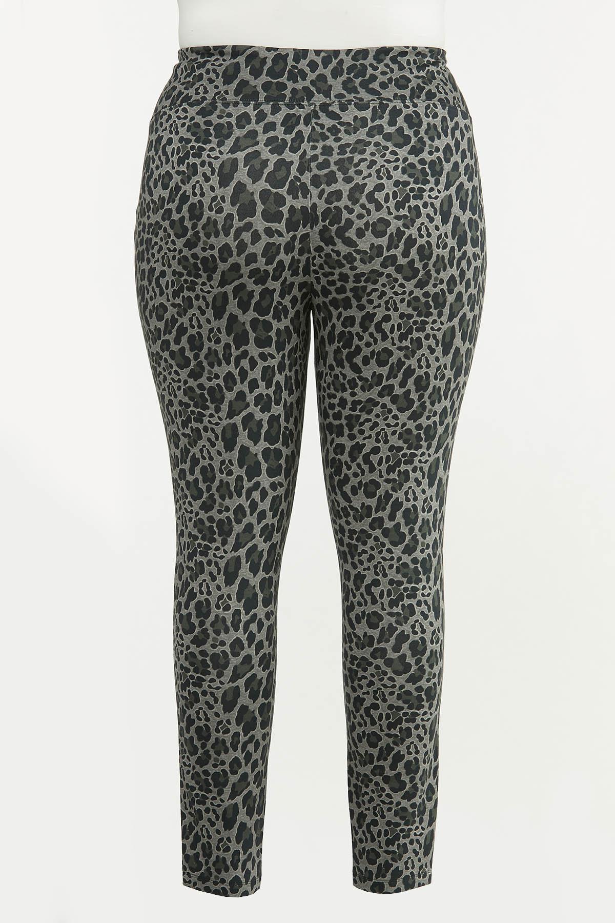 Plus Size Leopard Ponte Leggings (Item #44672000)