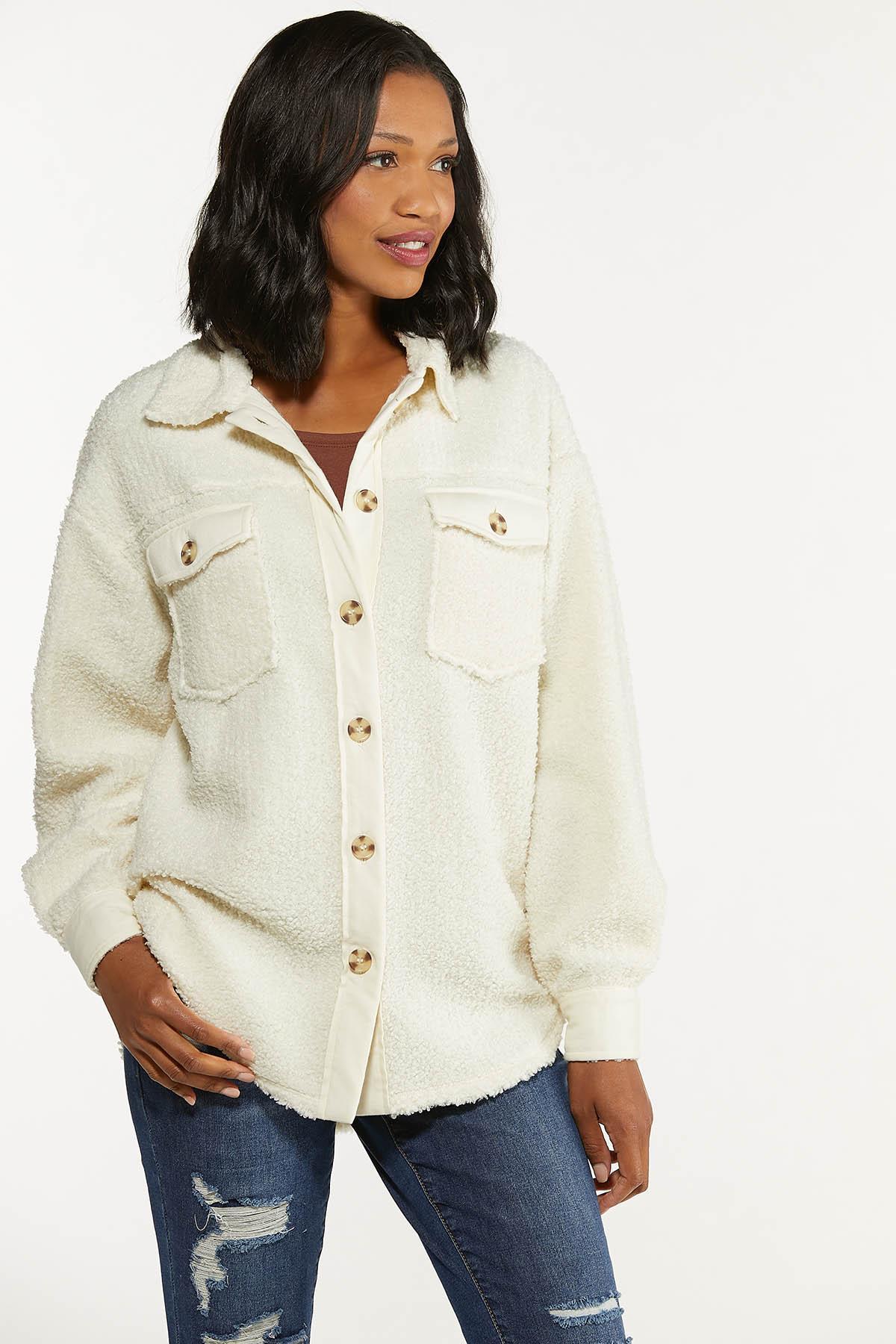Plus Size Sherpa Shacket (Item #44672247)