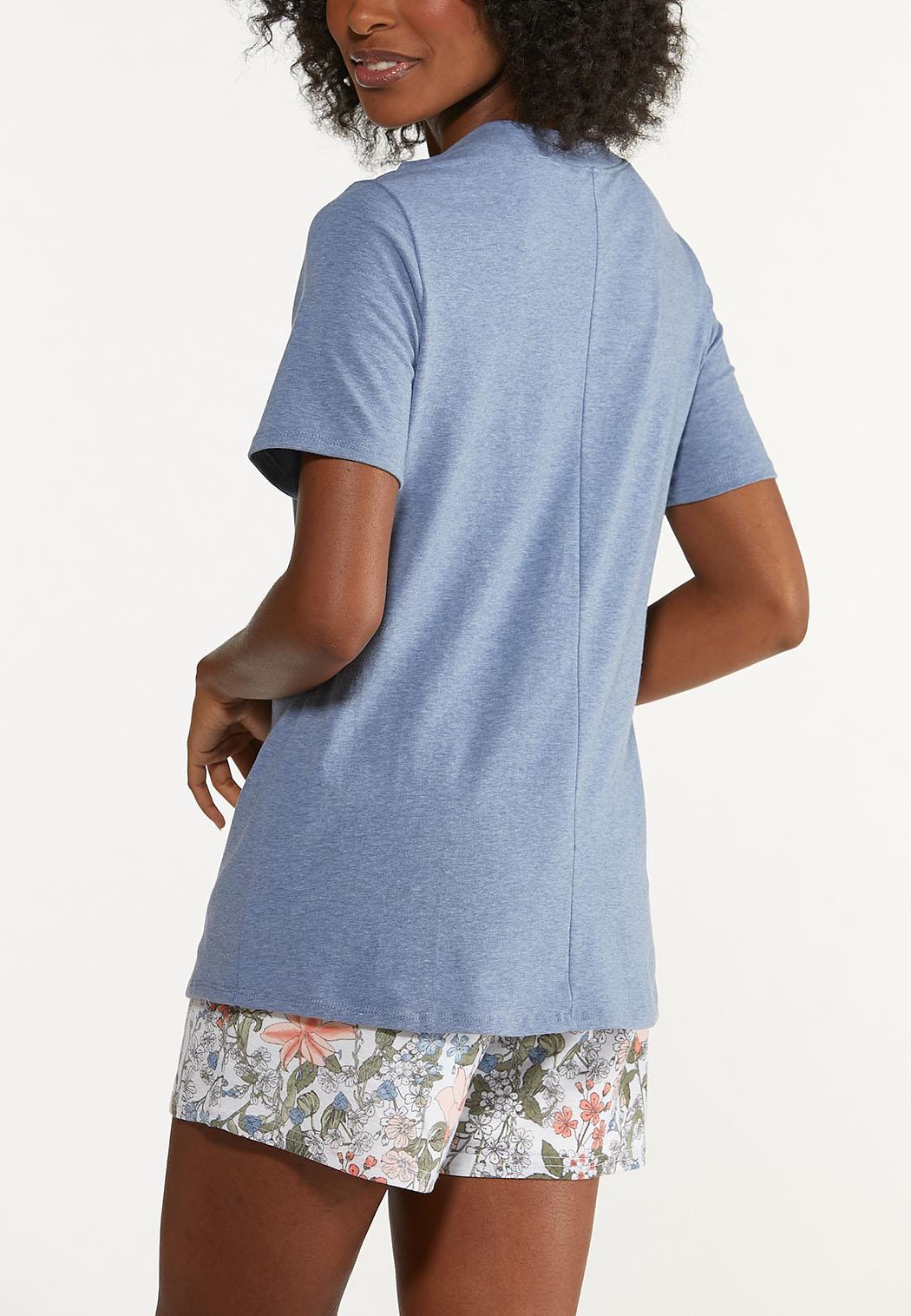 Plus Size Blue Cutout Shoulder Tee (Item #44672501)