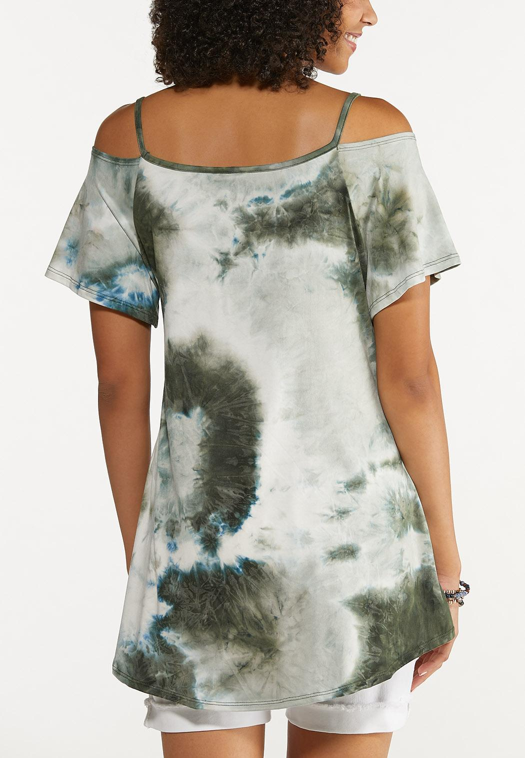 Plus Size Tie Dye Cold Shoulder Top (Item #44672675)
