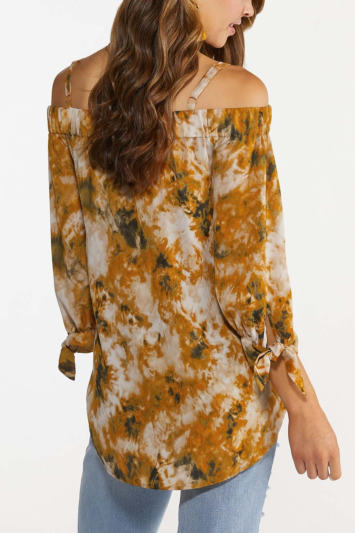 Plus Size Gold Tie Dye Top (Item #44672726)