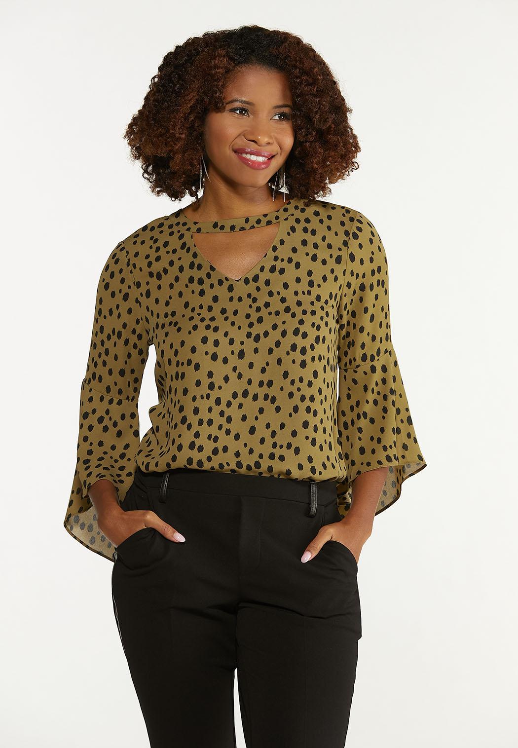 Plus Size Olive Leopard Top (Item #44672803)