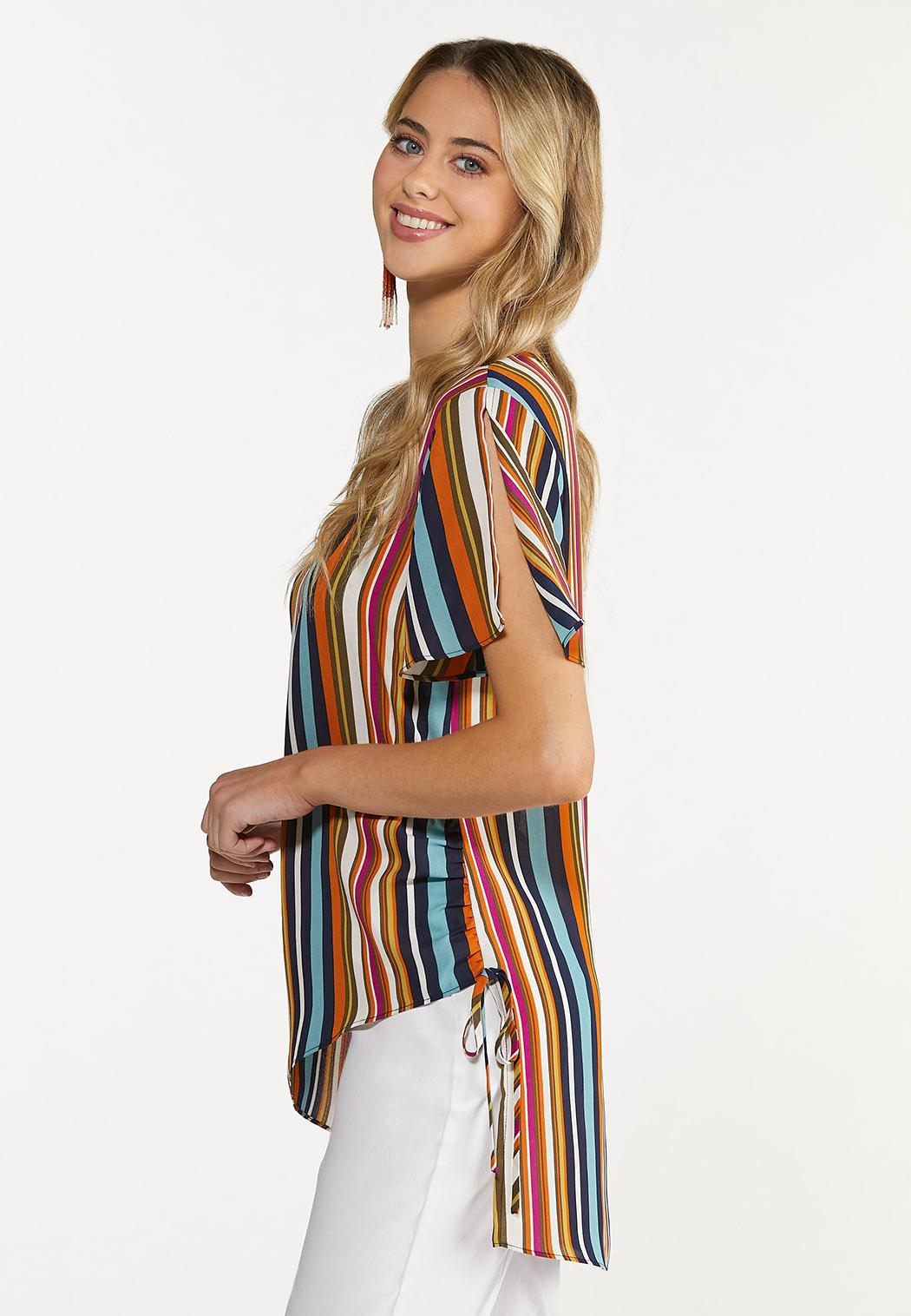 Plus Size Autumn Stripe Top (Item #44672863)