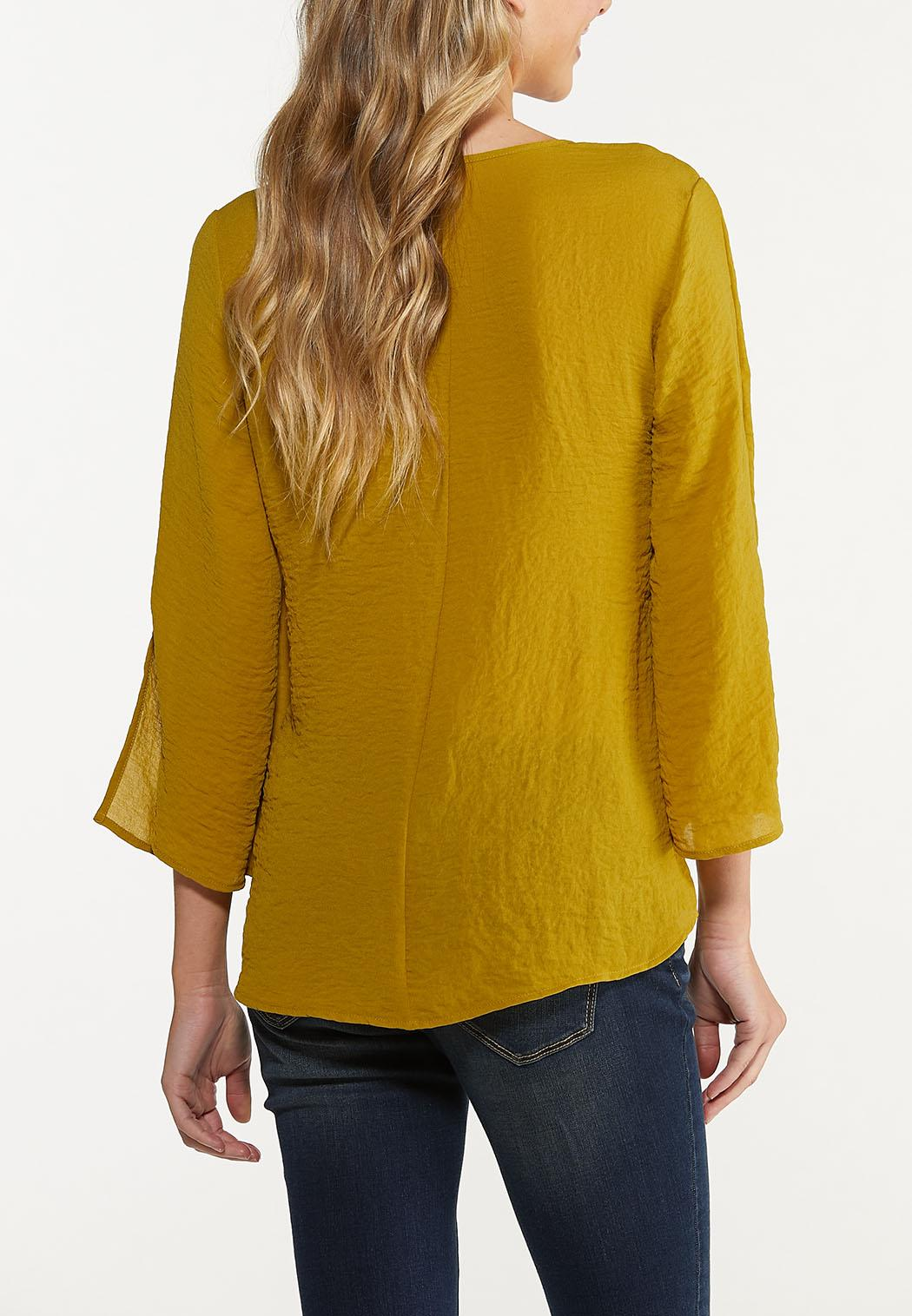 Olive Ruched Tie Top (Item #44672885)