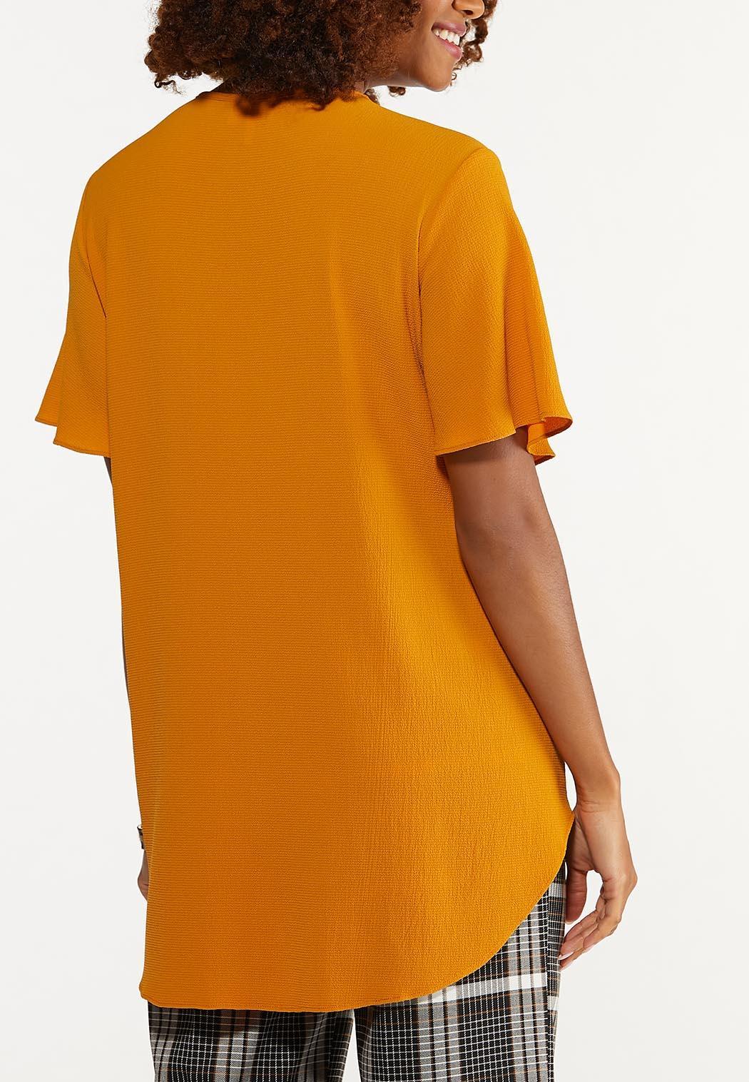 Plus Size Crepe Cutout V-Neck Tunic (Item #44672958)