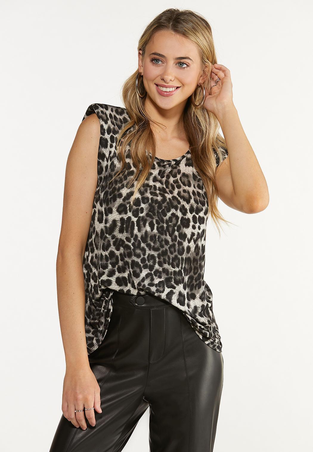Leopard Shoulder Pad Top (Item #44673094)