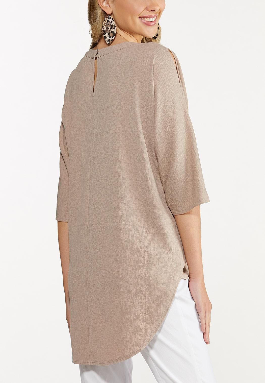 Plus Size Beige Cutout High-Low Tunic (Item #44673130)