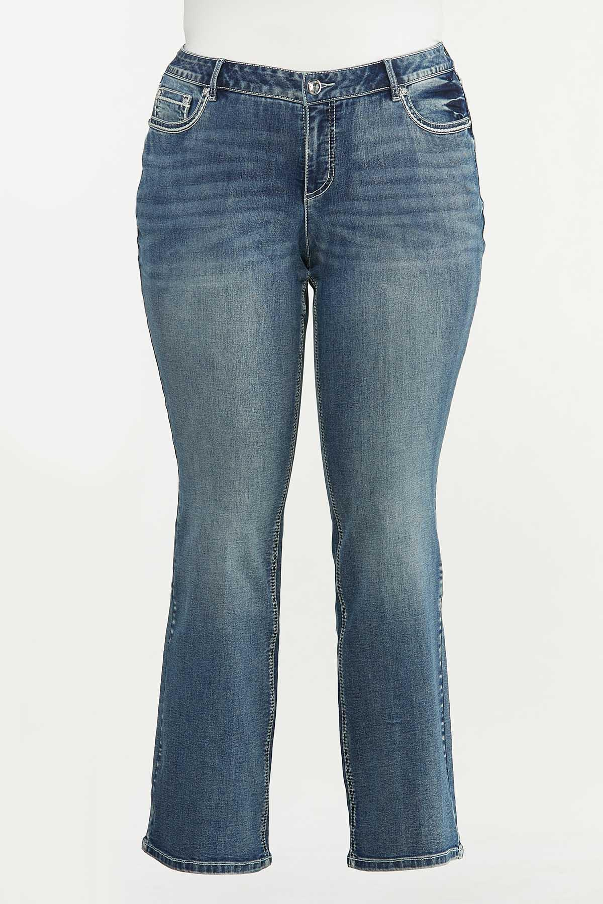 Plus Size Star Studded Bootcut Jeans (Item #44674477)