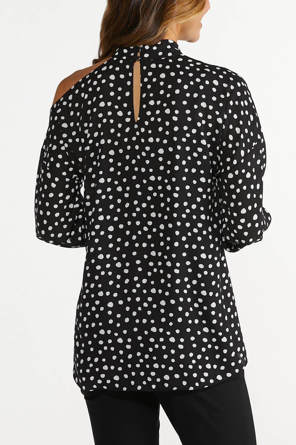 Plus Size Dotted Cutout Top (Item #44674610)