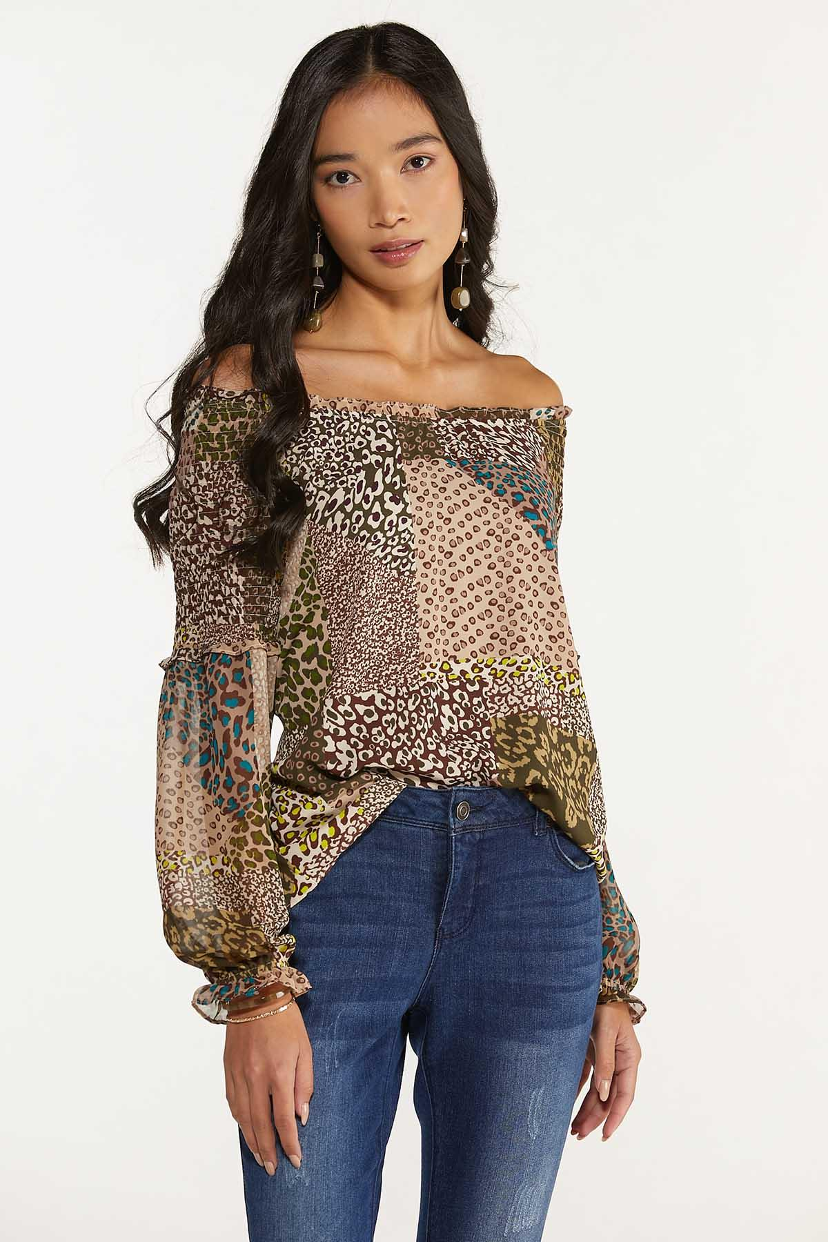 Plus Size Smocked Mixed Leopard Top (Item #44674643)